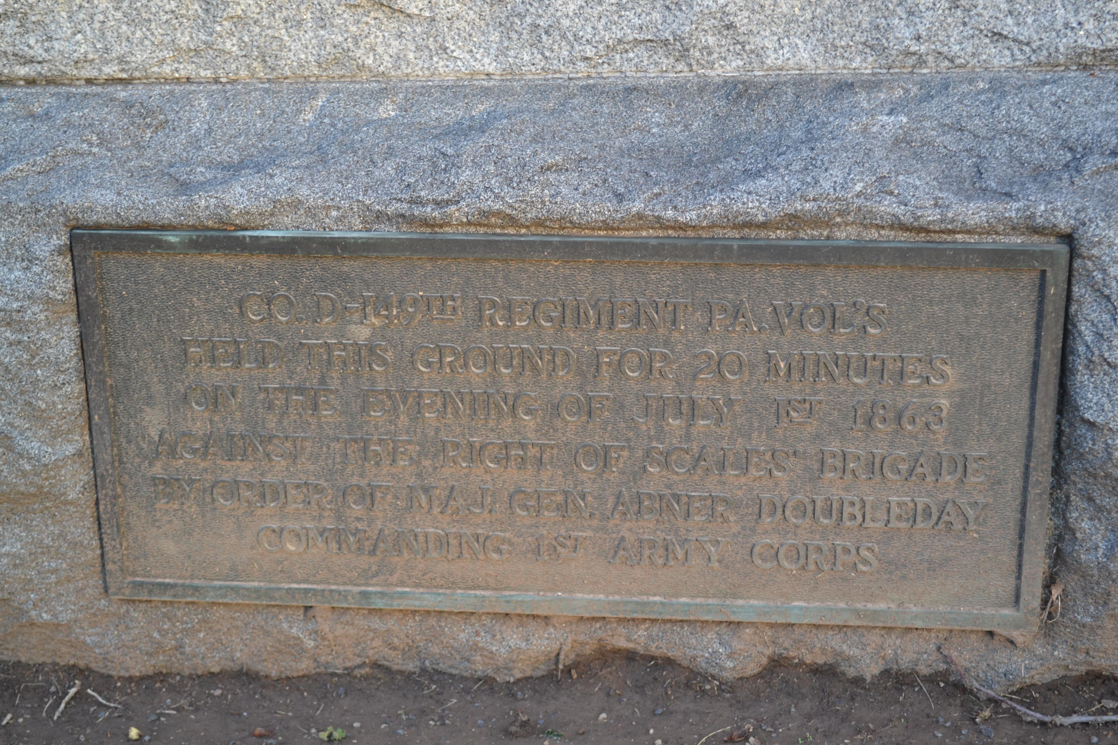 149th Pennsylvania Infantry, Company D Monument