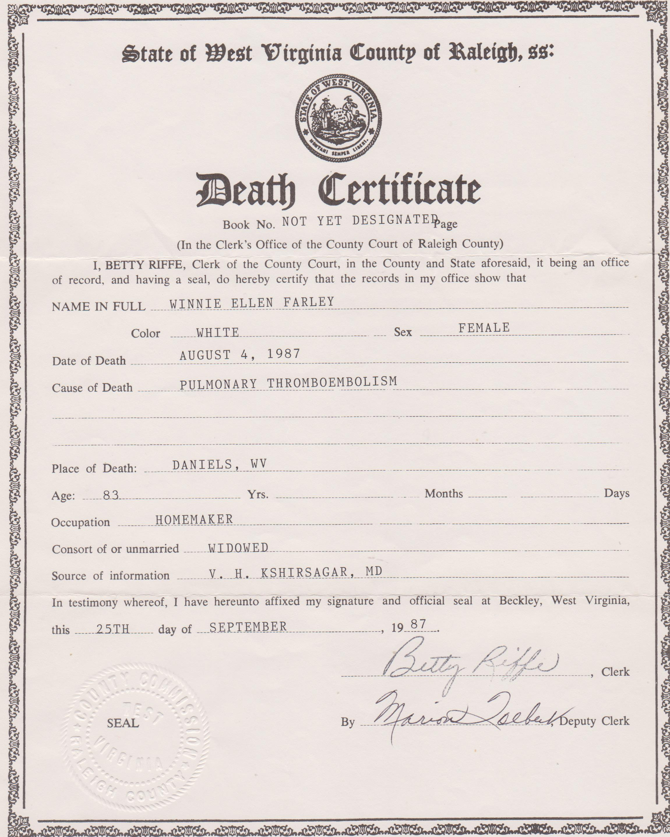 Winnie ellen bolen hall farley 1904 1987 find a grave memorial death certificate for winnie ellen bolen hall farley aiddatafo Gallery
