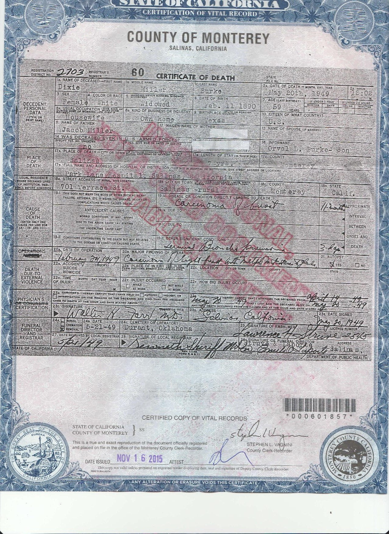 Dixie dorothea miller burke 1890 1949 find a grave memorial dixie miller burkes death certificate public record i received a non official copy from the monterrey county california court house xflitez Choice Image