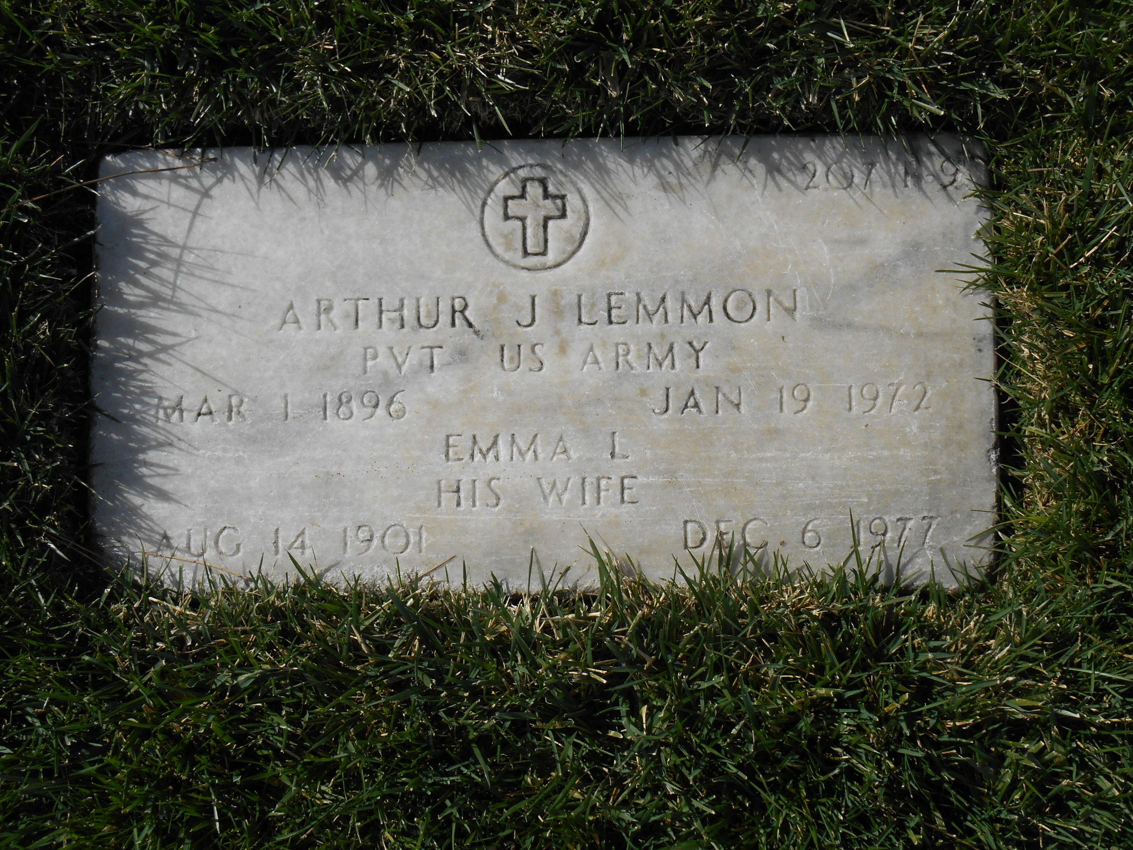Pvt Arthur J Lemmon