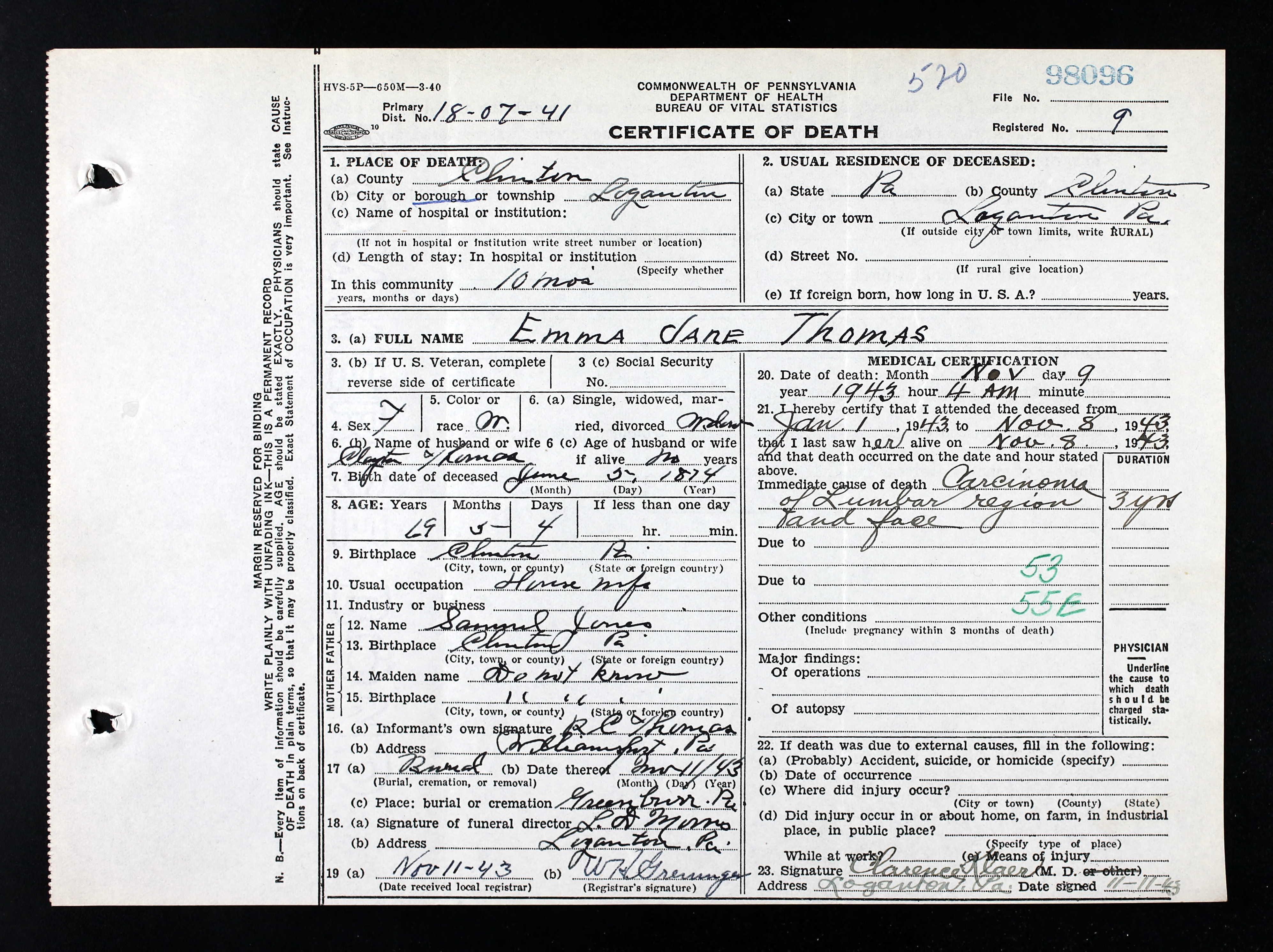 Emma jane jones thomas 1874 1943 find a grave memorial pennsylvania death certificates 1906 1963 for emma jane thomas name emma jane thomas emma jane jones gender female race white marital status widow 1betcityfo Gallery