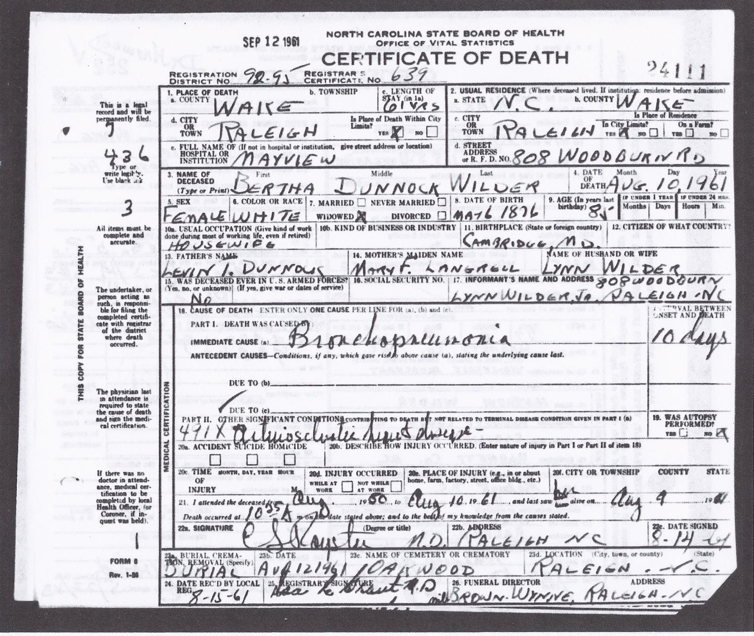 Bertha d wilder 1876 1961 find a grave memorial copy of north carolina death certificate for bertha dunnock wilder wife of lynn s wilder sr bertha was born march 6 1876 in maryland and died august aiddatafo Gallery