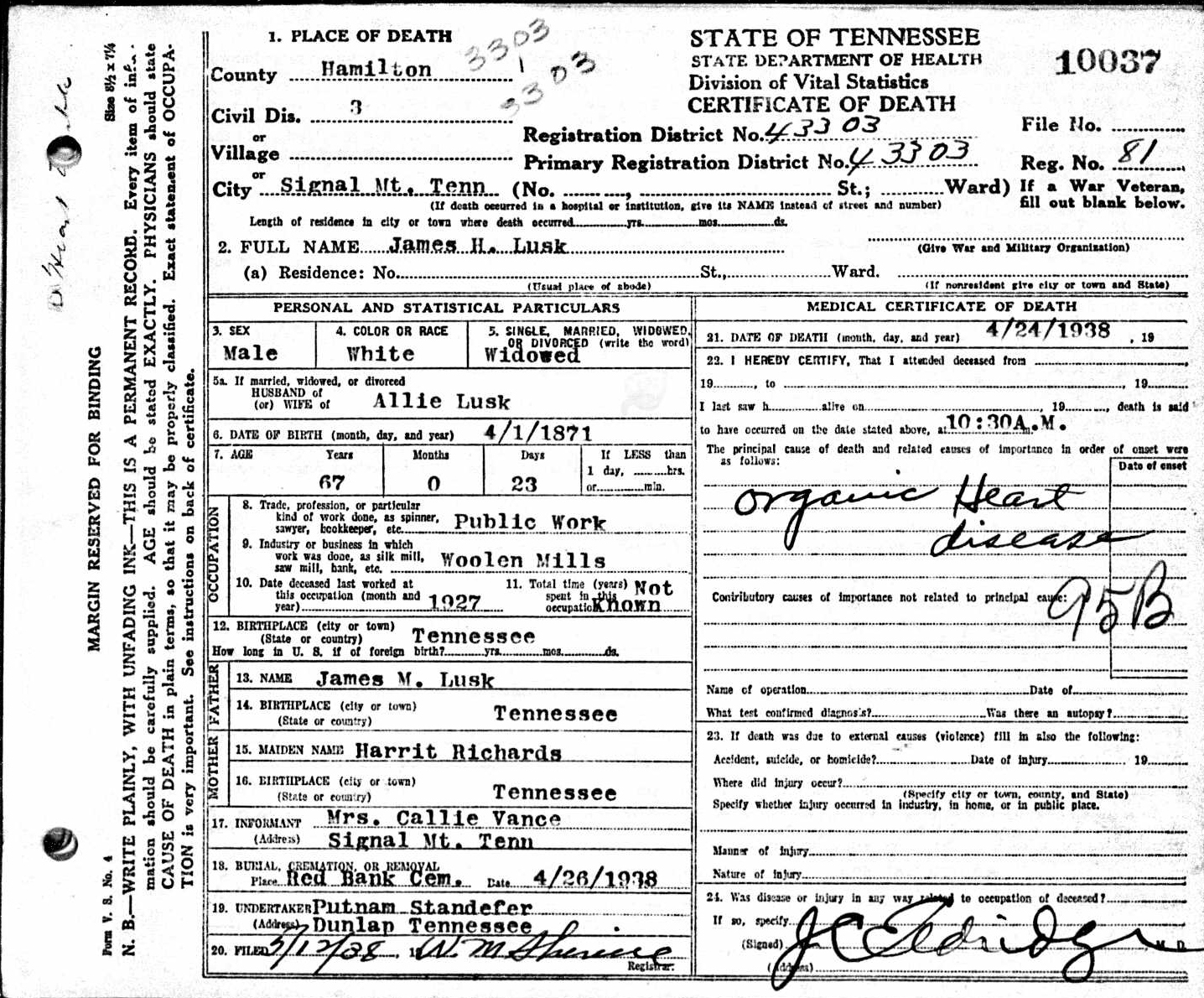 James h lusk 1871 1938 find a grave memorial james h lusk tennessee death certificate name james h lusk birth date 1 apr 1871 birth place tennessee age 67 death date24 apr 1938 death place 1betcityfo Images