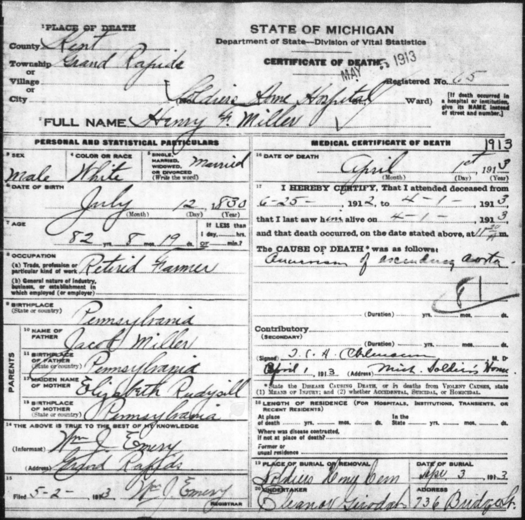 Pvt Henry Franklin Miller
