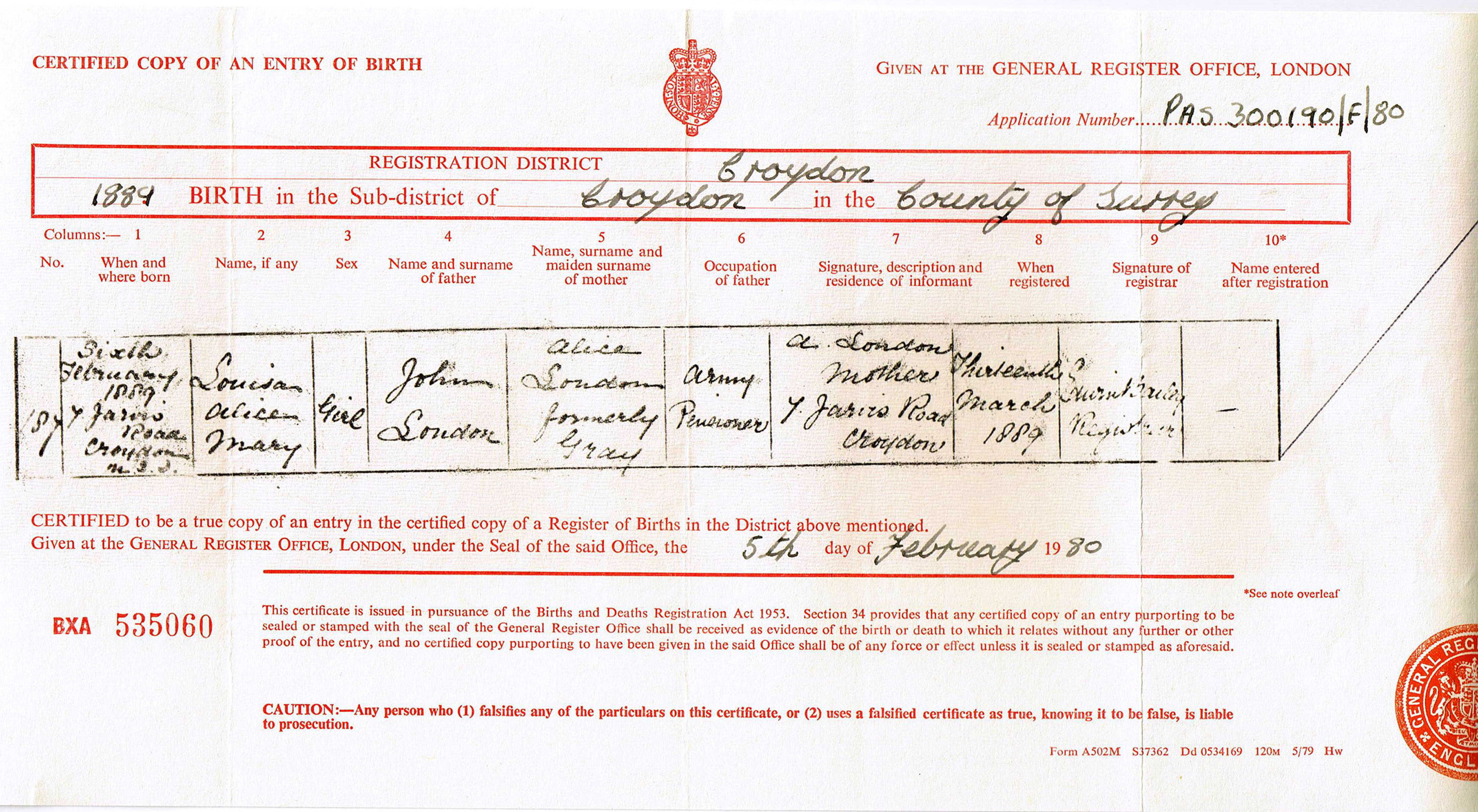 Louisa alice mary london hargreaves 1889 1955 find a grave birth certificate aiddatafo Image collections