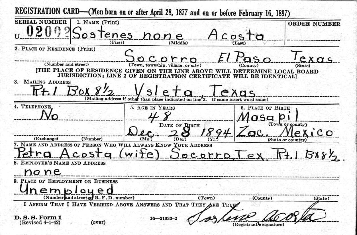 Sostenes acosta 1895 1942 find a grave memorial sostenes acosta birth date 28 dec 1894 residence socorro texas usa aiddatafo Images
