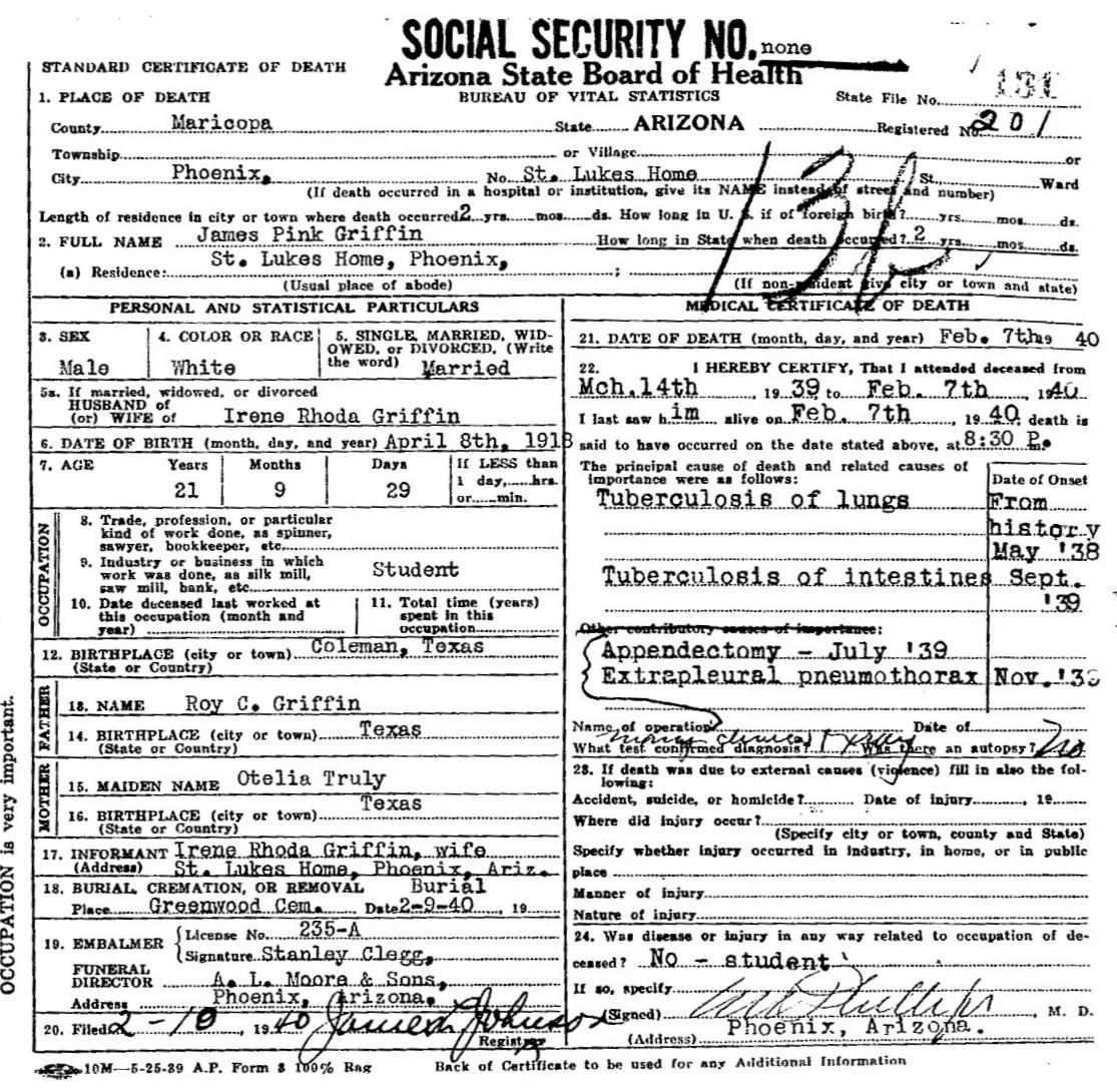 James pinckney griffin 1918 1940 find a grave memorial arizona death certificate xflitez Choice Image