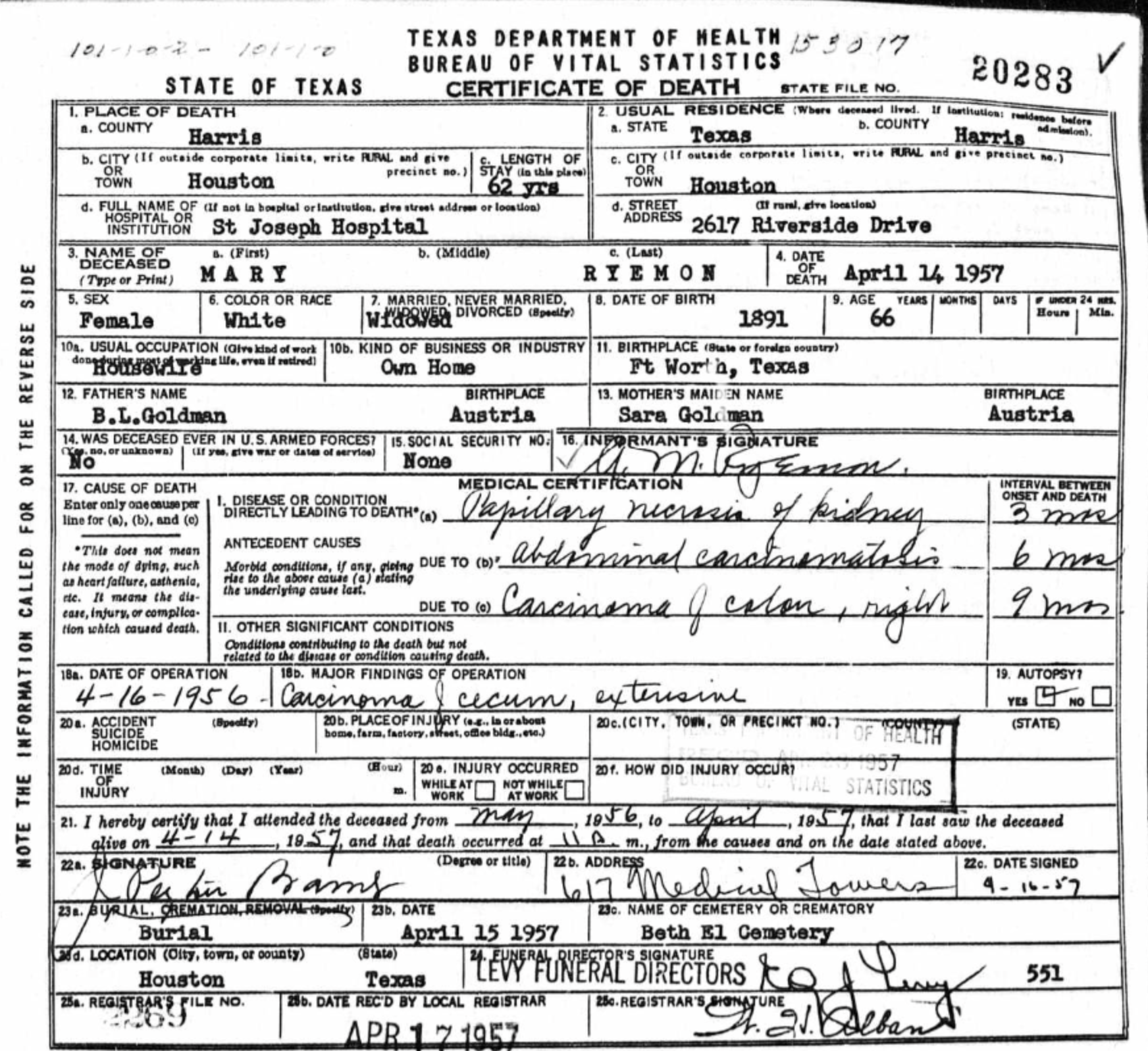 Mary rachael goldman ryemon 1891 1957 find a grave memorial death certificate for mary ryemon aiddatafo Gallery