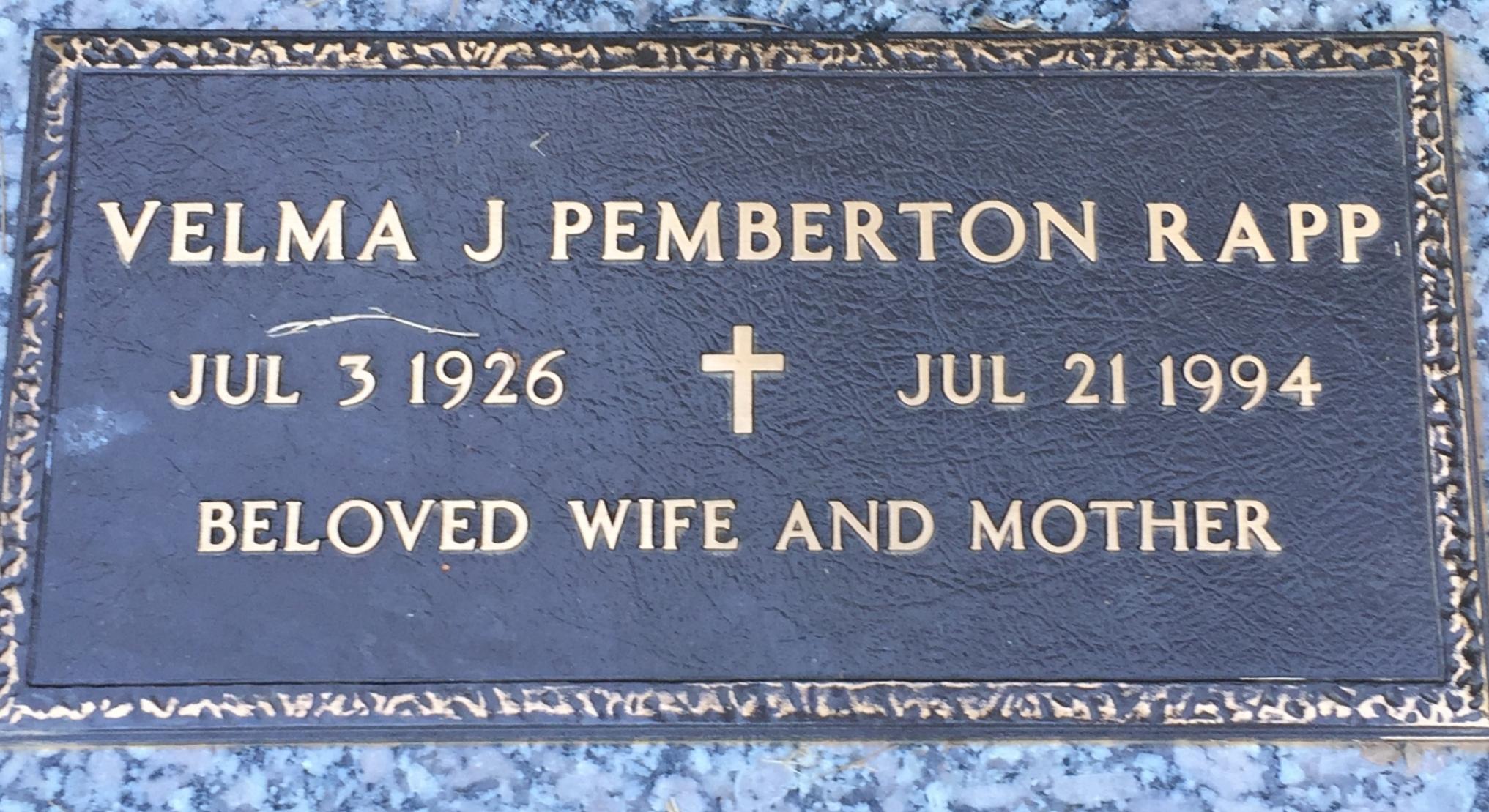 Velma Jane <i>Pemberton</i> Rapp