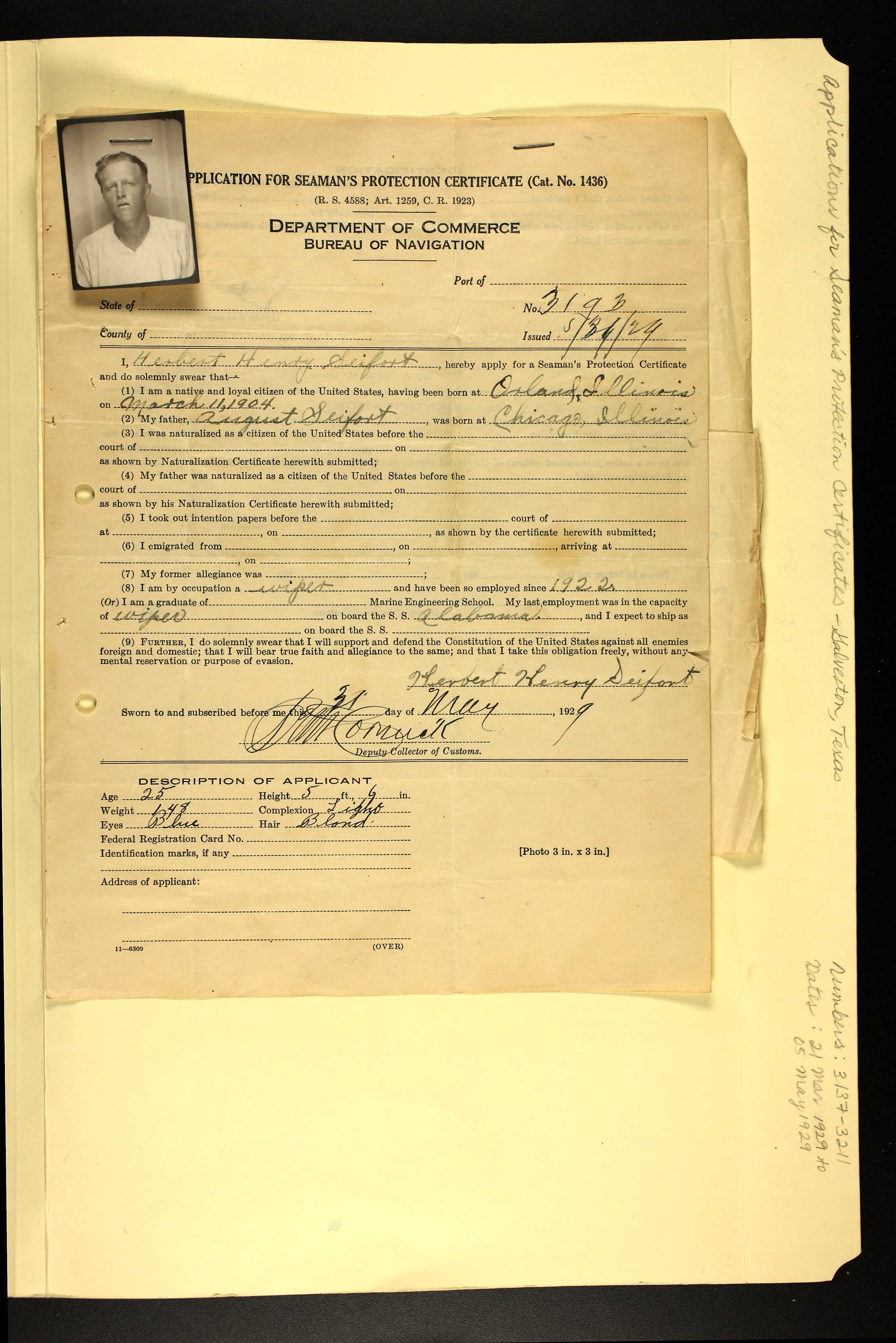 Herbert henry seifert 1904 1948 find a grave memorial herberts application for seamans protection certificate dated 31 may 1929 naming his father august seifort born in chicago illinois aiddatafo Choice Image