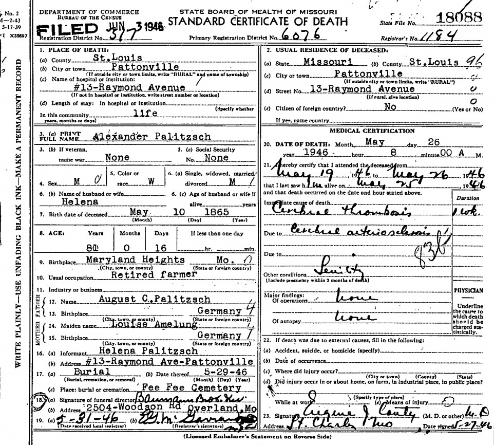 Alexander palitzsch 1865 1946 find a grave memorial missouri death certificate no 18088 alexander palitzsch born may 10 1865 in maryland heights missouri to august c palitzsch and louise amelung both 1betcityfo Gallery