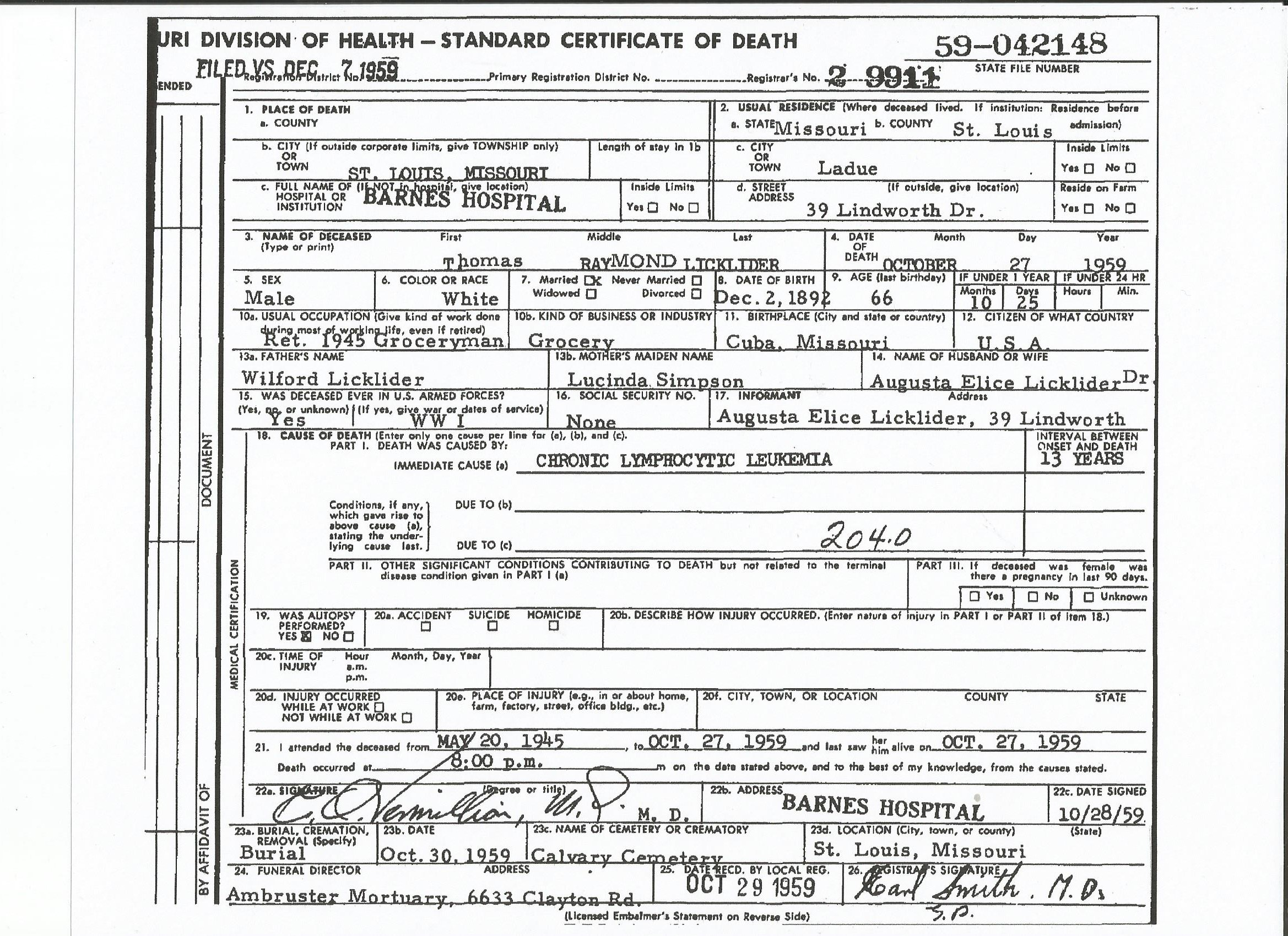Thomas raymond licklider 1892 1959 find a grave memorial death certificate 1betcityfo Choice Image