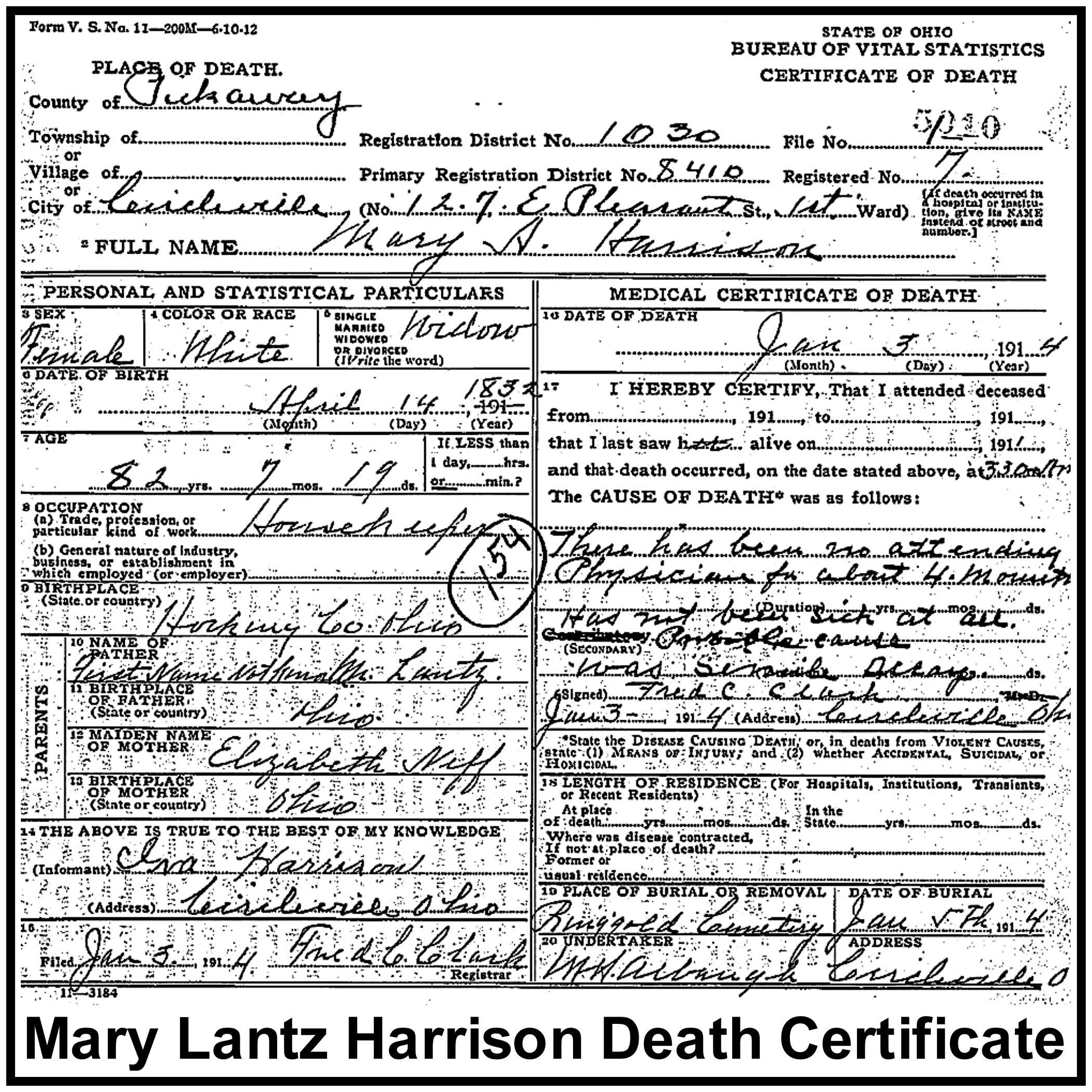 Mary a lantz harrison 1832 1914 find a grave memorial bohio death certificateb 5010 name mary a harrison gender female death date 3 jan 1914 age at death 82y 7m 19d birth date 14 apr 1832 birth aiddatafo Image collections