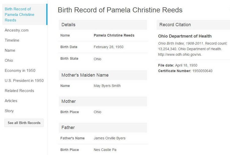 Pamela Christine Reeds 1950 1998 Find A Grave Memorial
