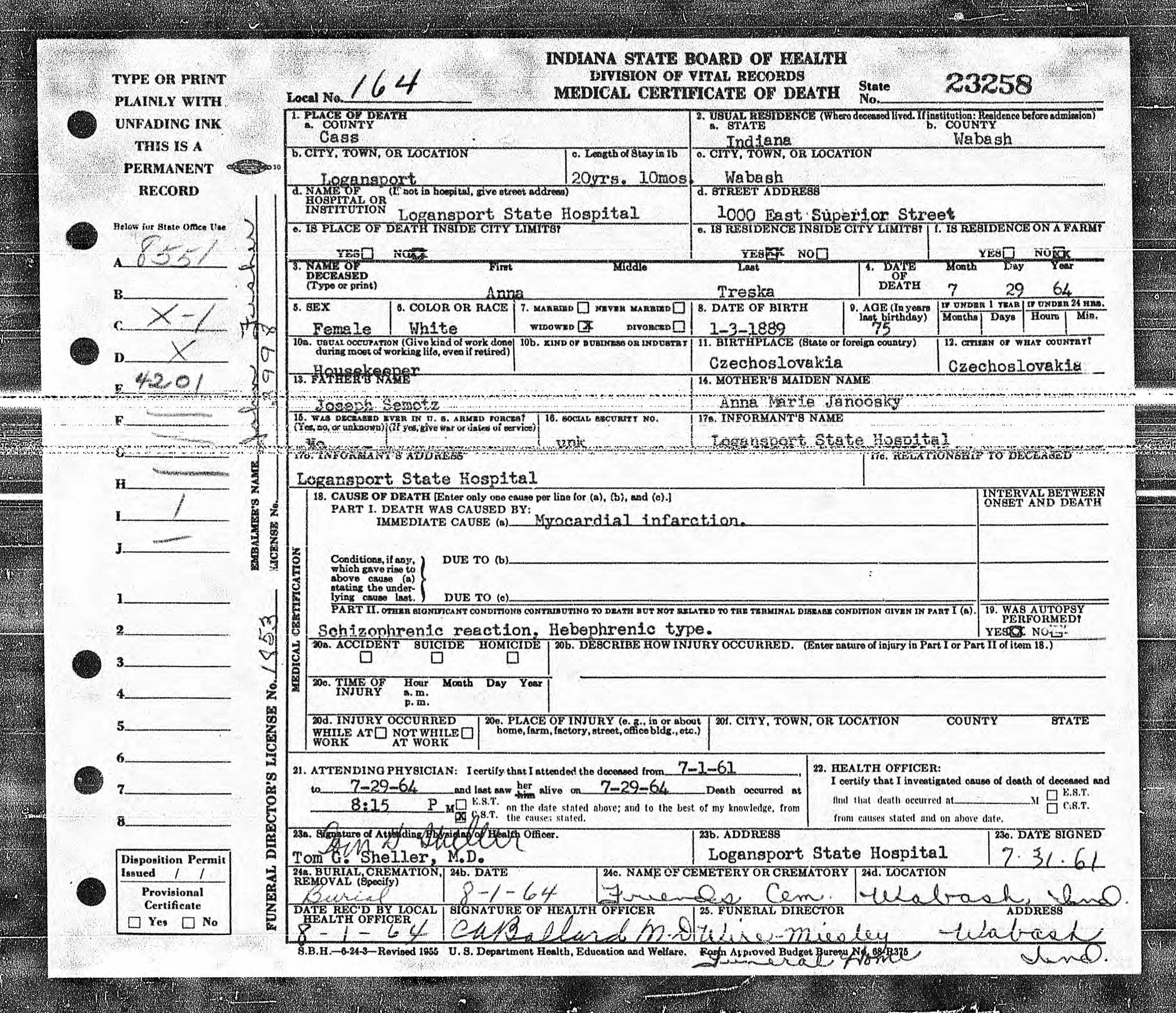 Anna maria simota treska 1889 1964 find a grave memorial indiana death certificate name anna treska anna semotz gender female race white age 75 birth date 3 jan 1889 birth place czechoslovakia death date aiddatafo Gallery
