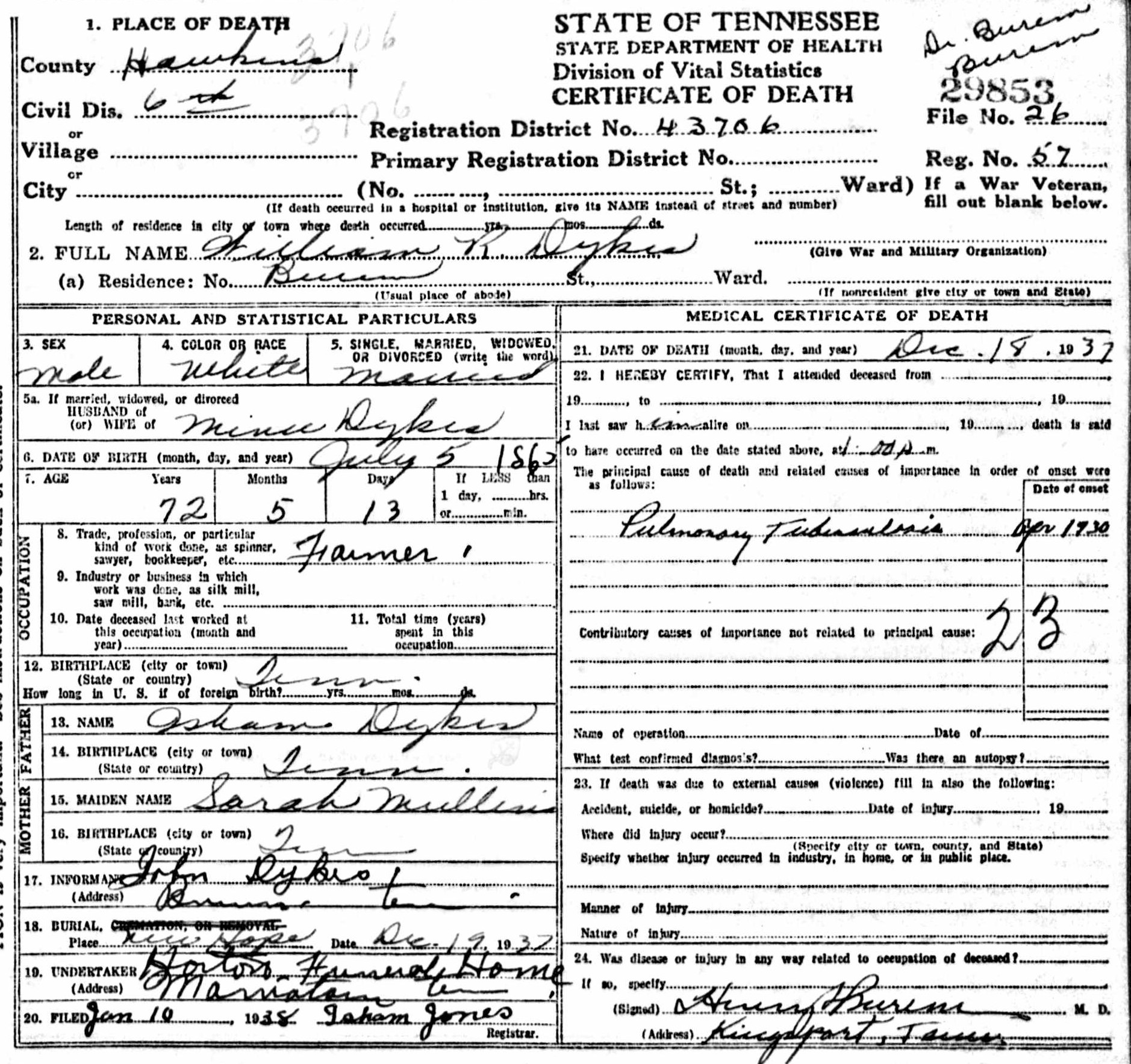 William robert rowland dykes 1865 1937 find a grave memorial william robert rowland dykes tennessee death certificate 1betcityfo Images