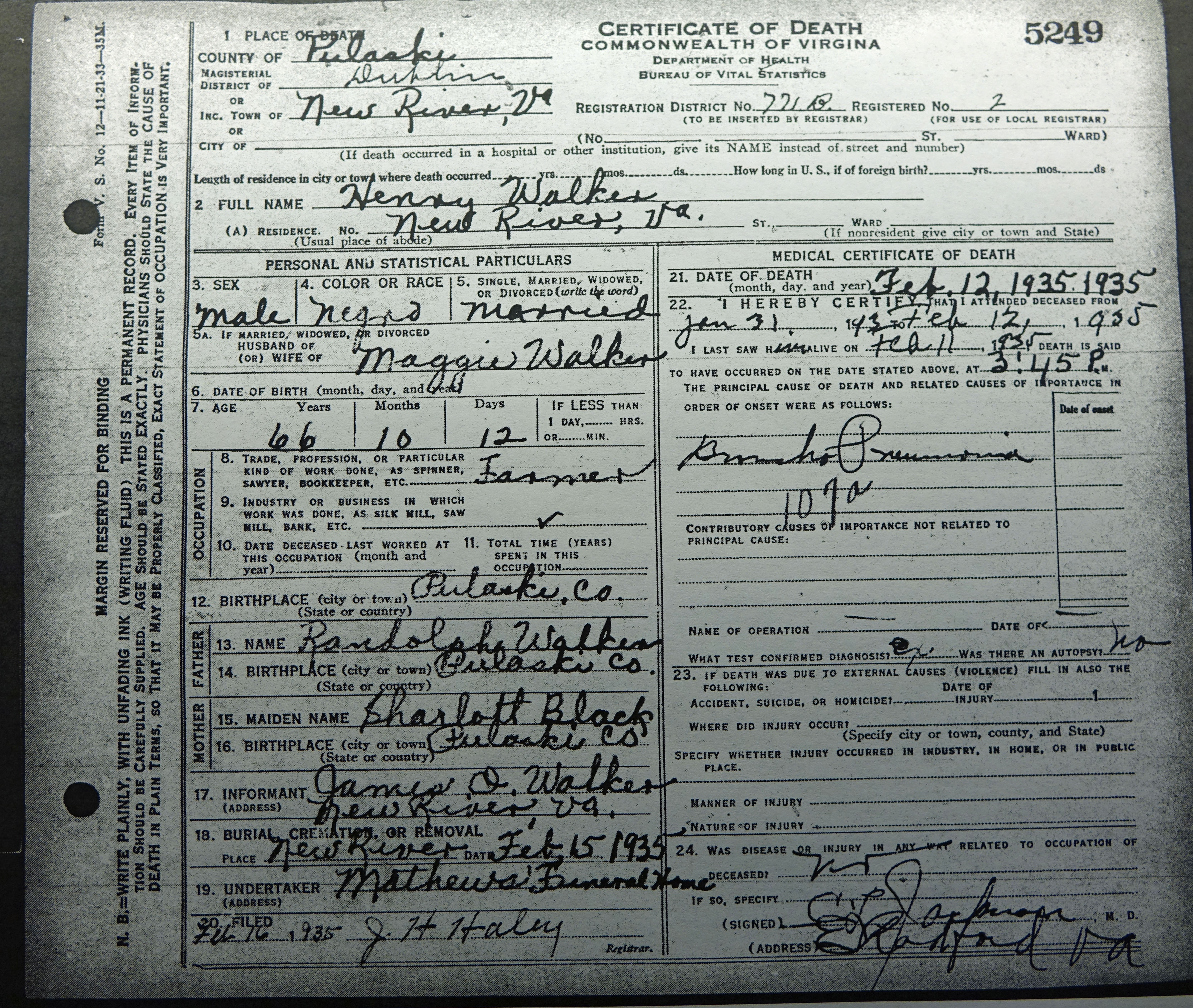 Henry walker 1864 1935 find a grave memorial 1935 virginia death certificate for henry walker from the library of virginia richmond va aiddatafo Images