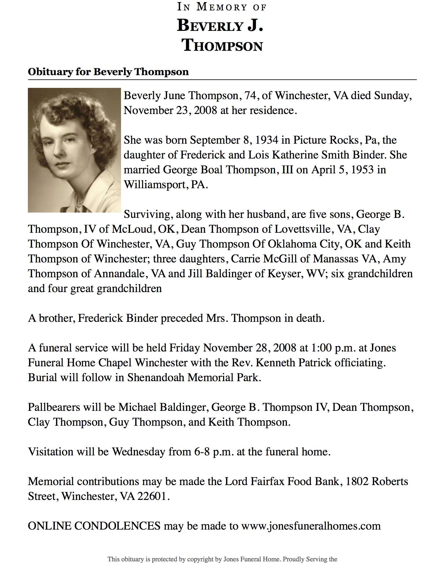 Mrs Beverly June Binder Thompson 1934 2008 Find A Grave