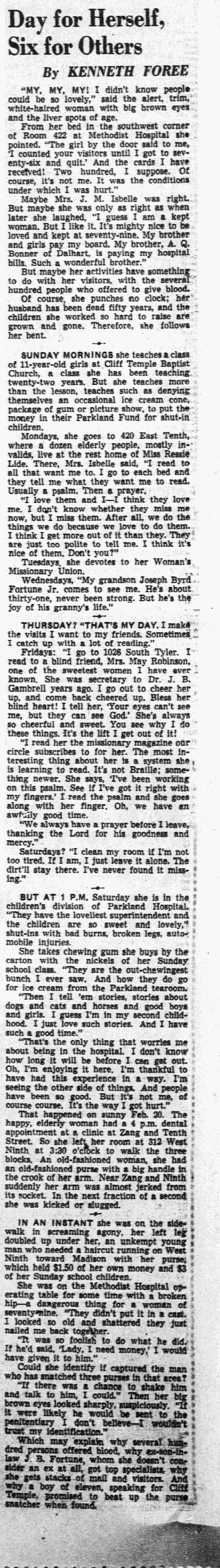Georgeanna bonner isbelle 1872 1963 find a grave memorial dallas morning news april 1 1951 section iv page 2 aiddatafo Image collections