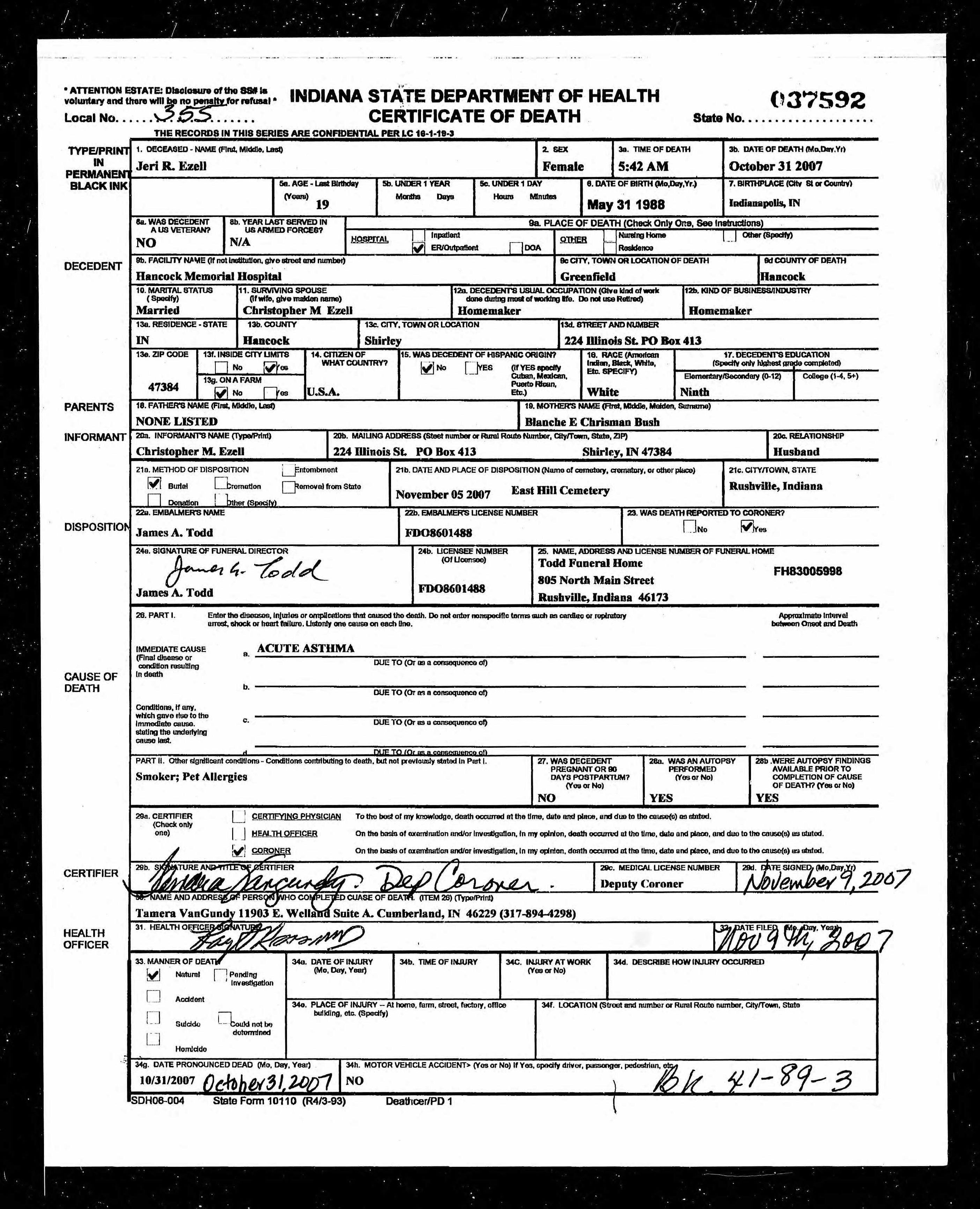 Jeri r bush ezell 1988 2007 find a grave memorial indiana death certificate aiddatafo Choice Image
