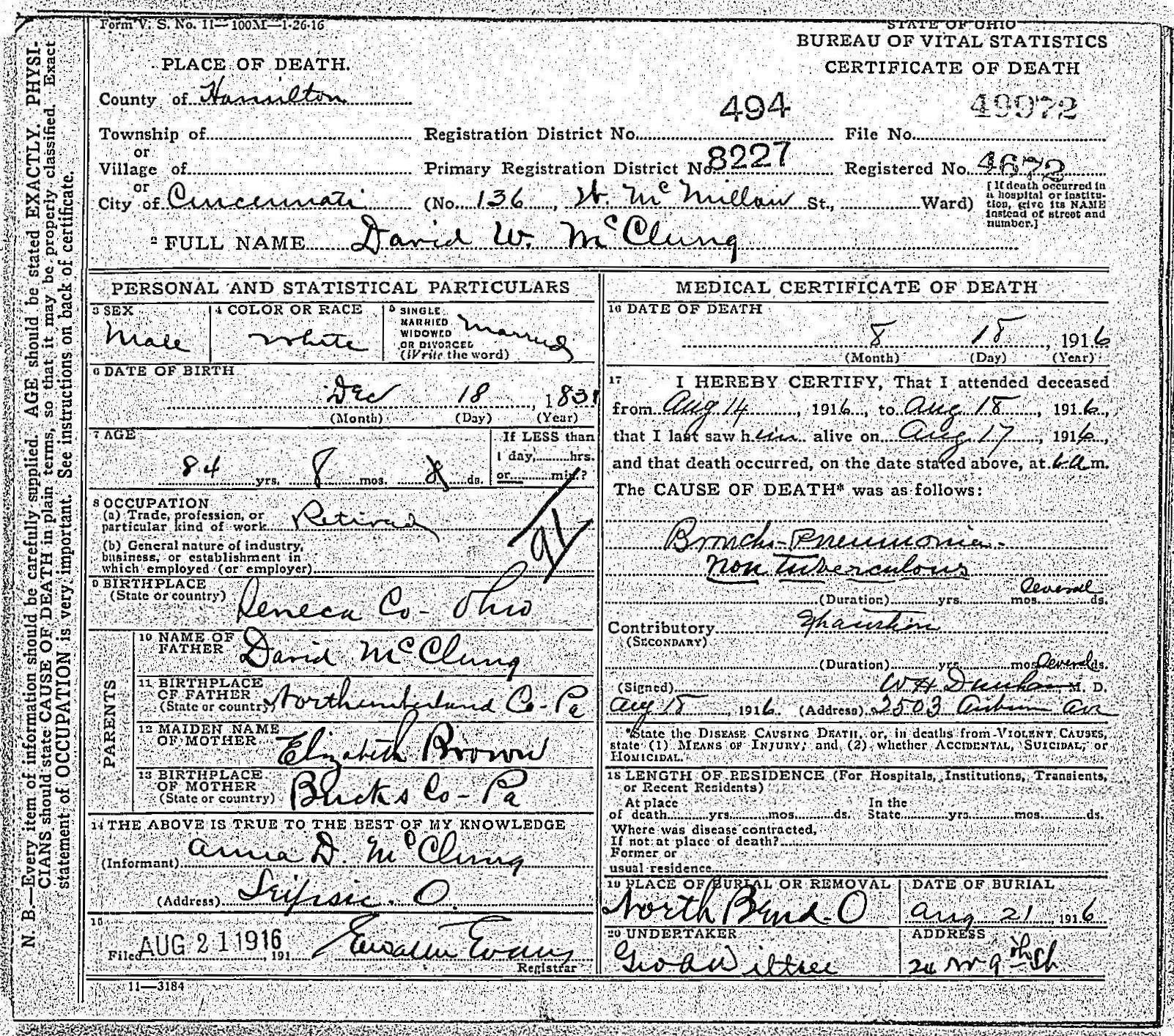David waddle mcclung 1831 1916 find a grave memorial david waddle mcclung in ohio death certificate aiddatafo Images