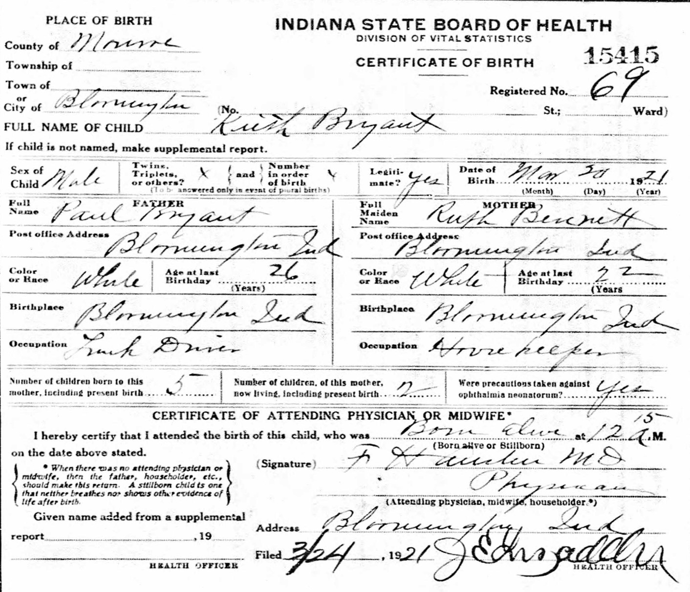 Keith dale bryant 1921 2000 find a grave memorial source indiana state board of health birth certificates 1907 1940 microfilm indiana archives and records administration indianapolis indiana aiddatafo Choice Image