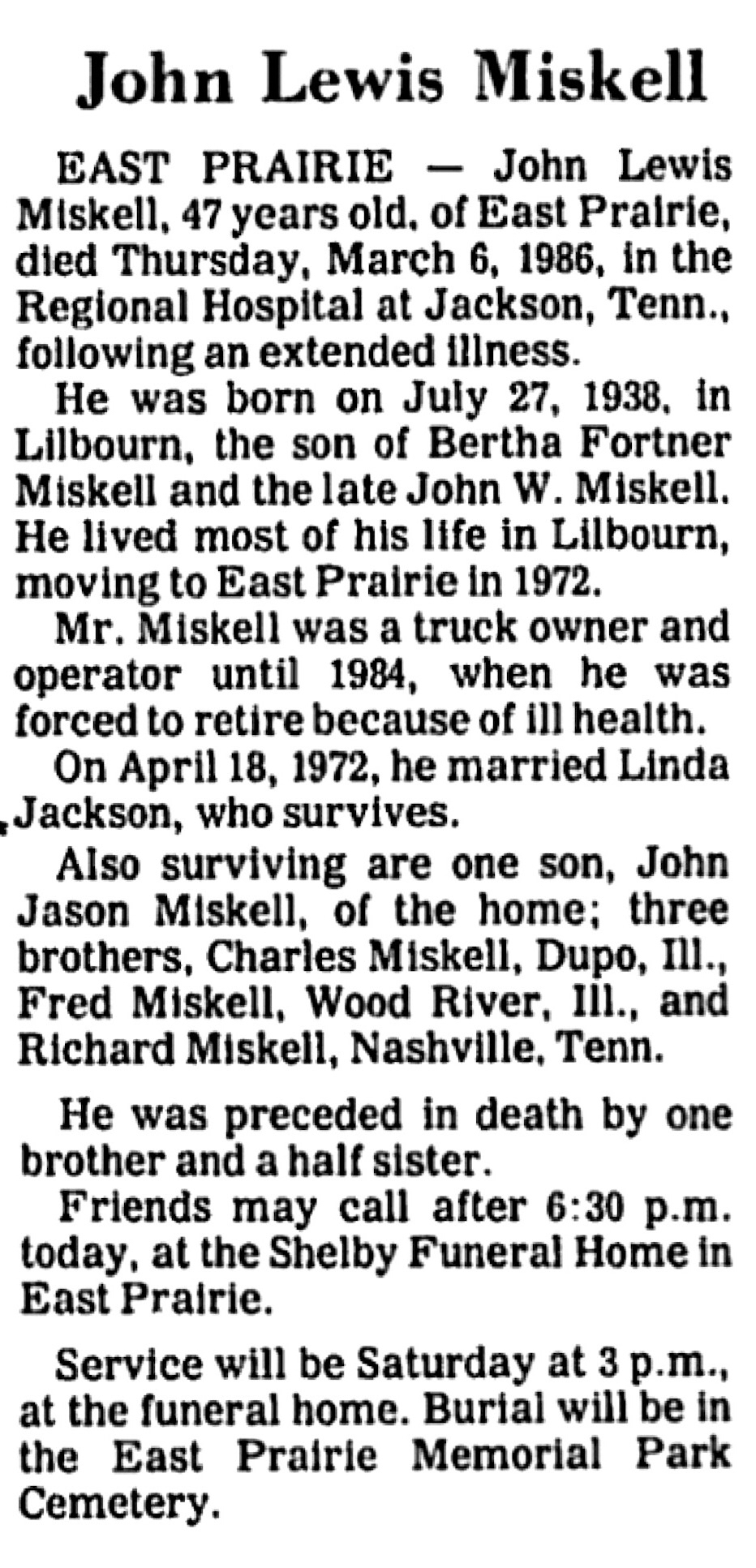 John lewis miskell 1938 1986 find a grave memorial obituary izmirmasajfo