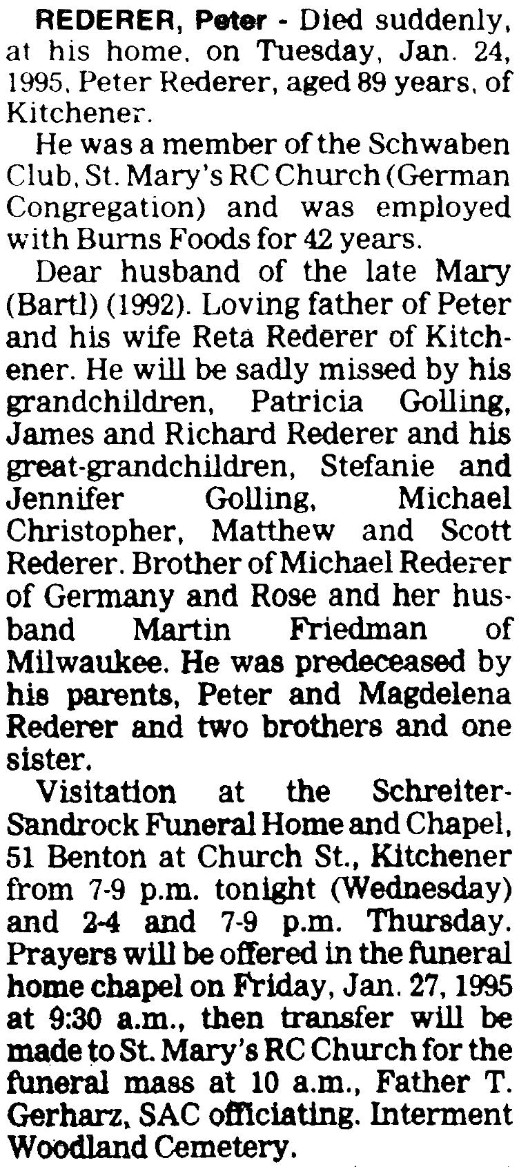 Peter Rederer (1906-1995) - Find A Grave Memorial