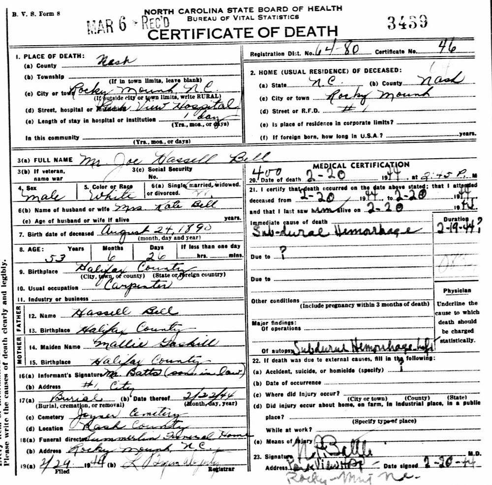 Joseph Hassell Joe Bell Sr 1890 1944 Find A Grave Memorial