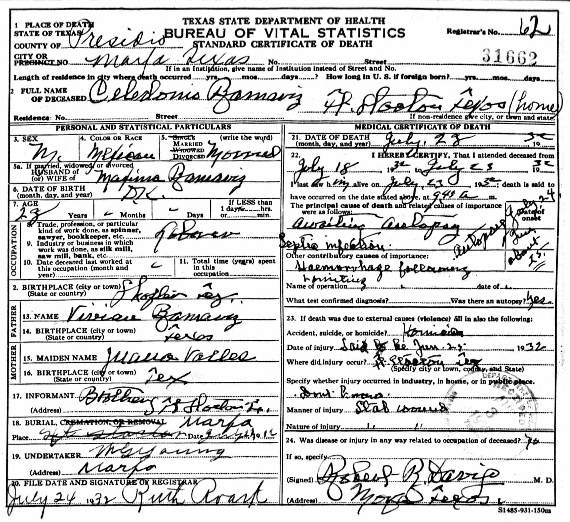 fort stockton texas birth certificate copy