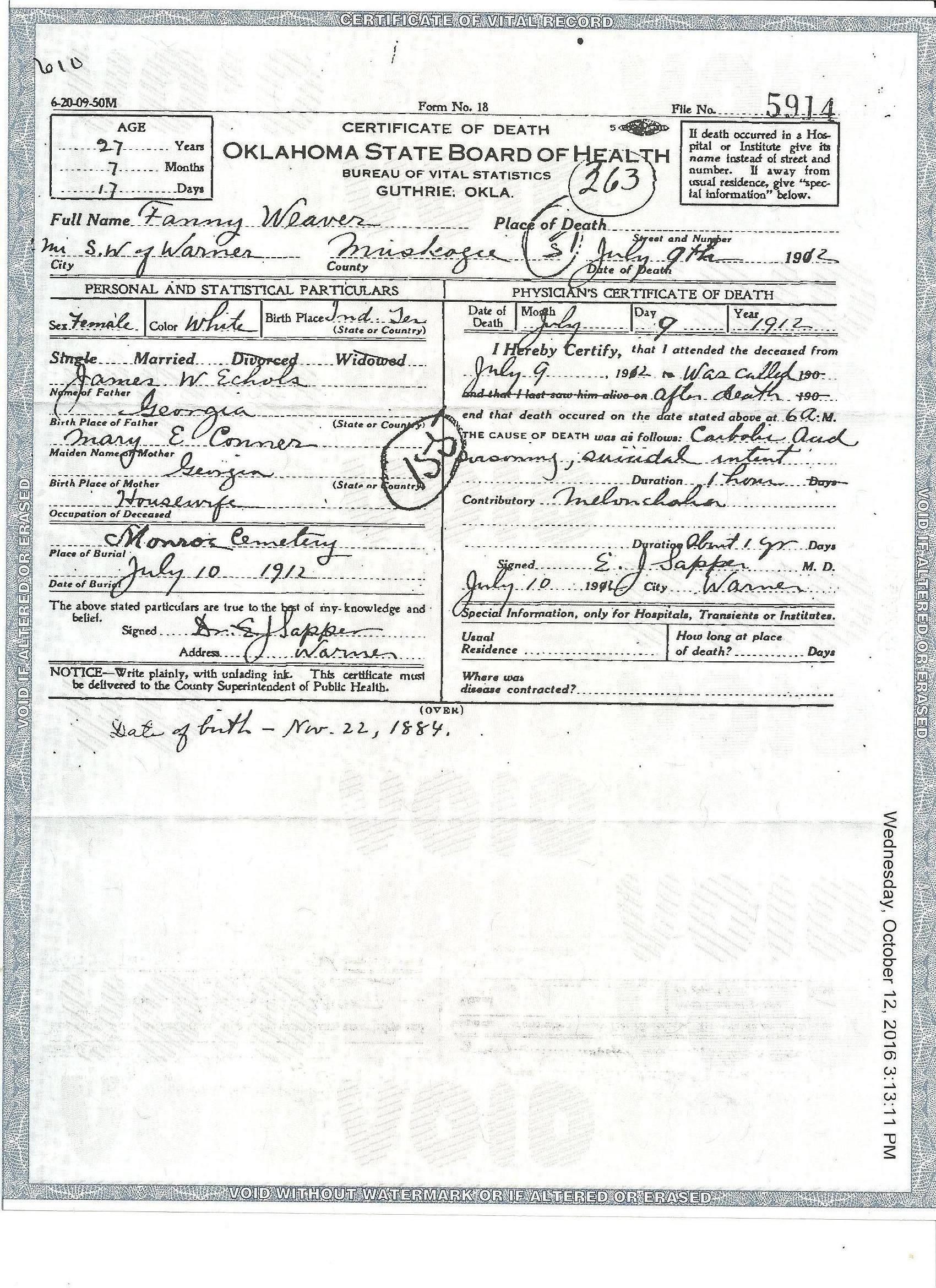 Fannie echols weaver 1884 1912 find a grave memorial death certificate showing parents names and birth date as well as cause of death 1betcityfo Images