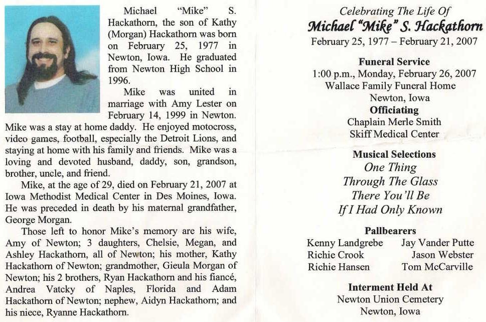 Michael S Mike Hackathorn 1977 2007 Find A Grave Memorial