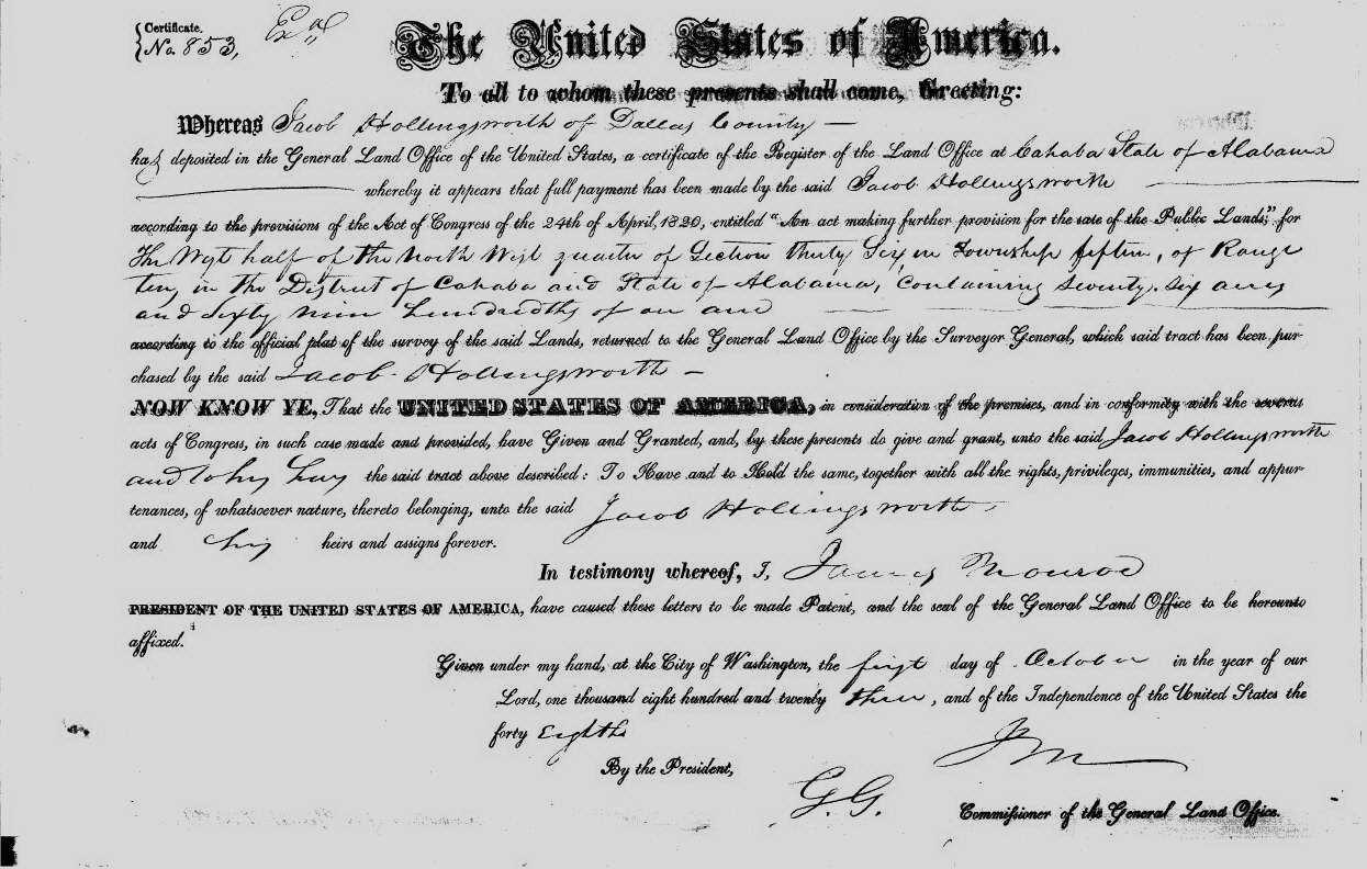 Jacob hollingsworth 1774 1836 find a grave memorial 1823 cahaba dallas county alabama land purchase approx 76 acres aiddatafo Image collections