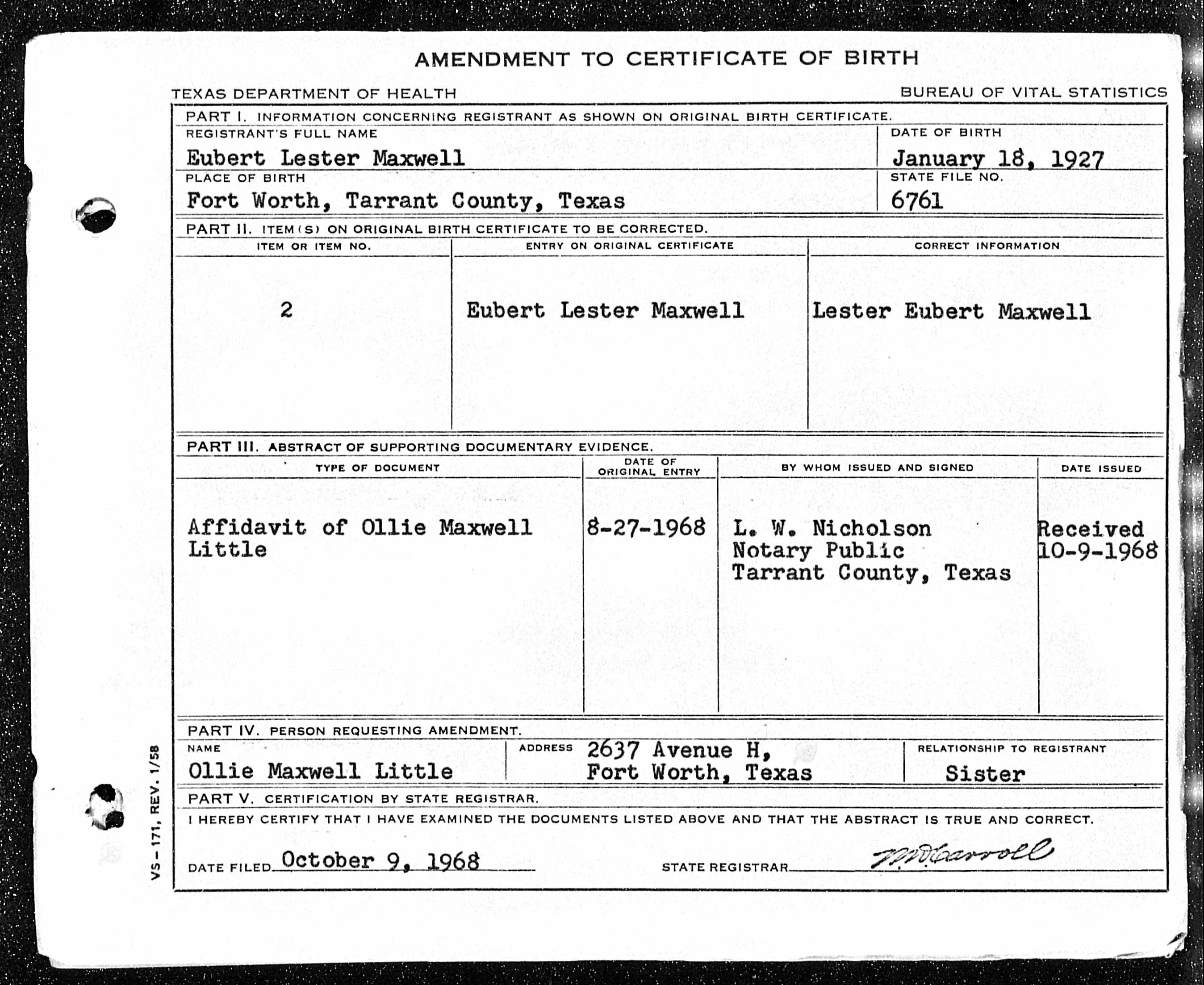 Vistoso Tarrant County Birth Certificate Fotos Para La Aplicacin