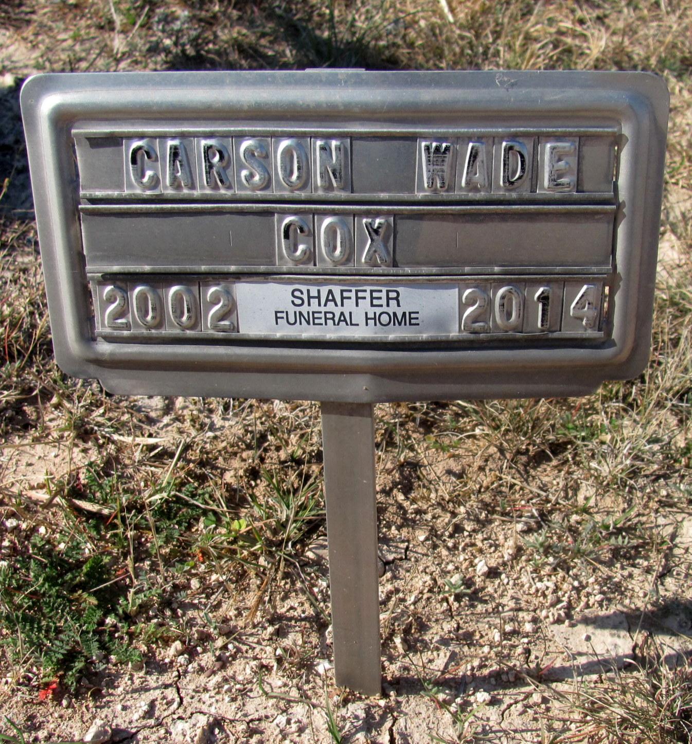 Carson Wade Cox 2002 2014 Find A Grave Memorial