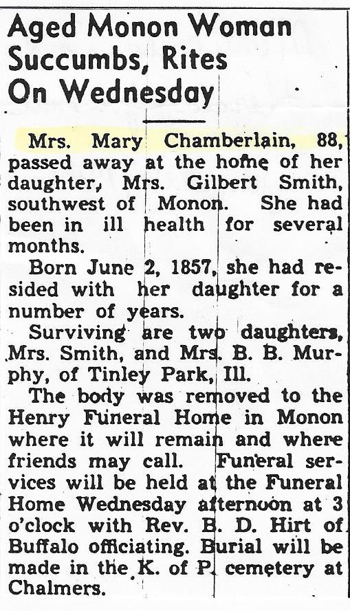 Mary M <i>Hileman</i> Chamberlain