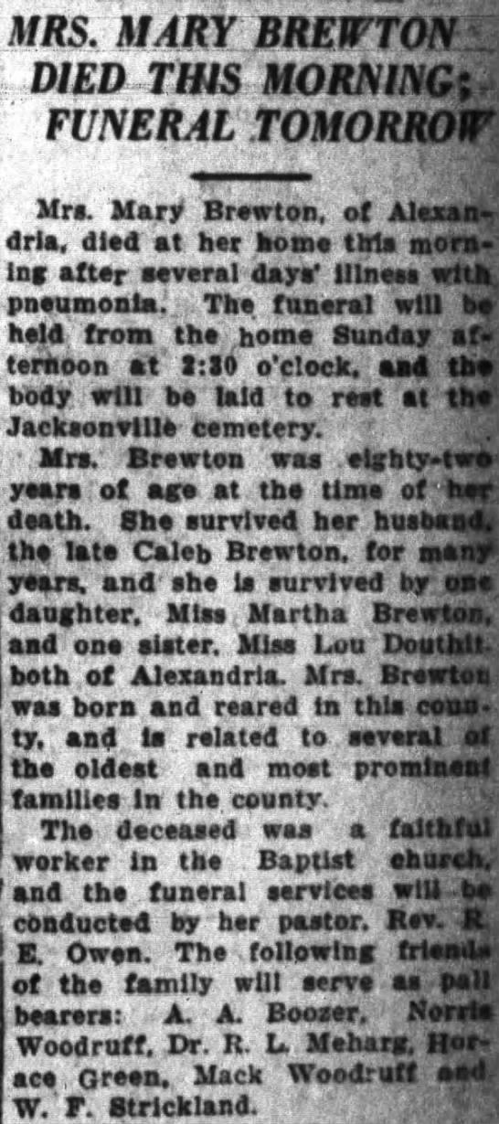 Mary Jane <i>Douthit</i> Brewton