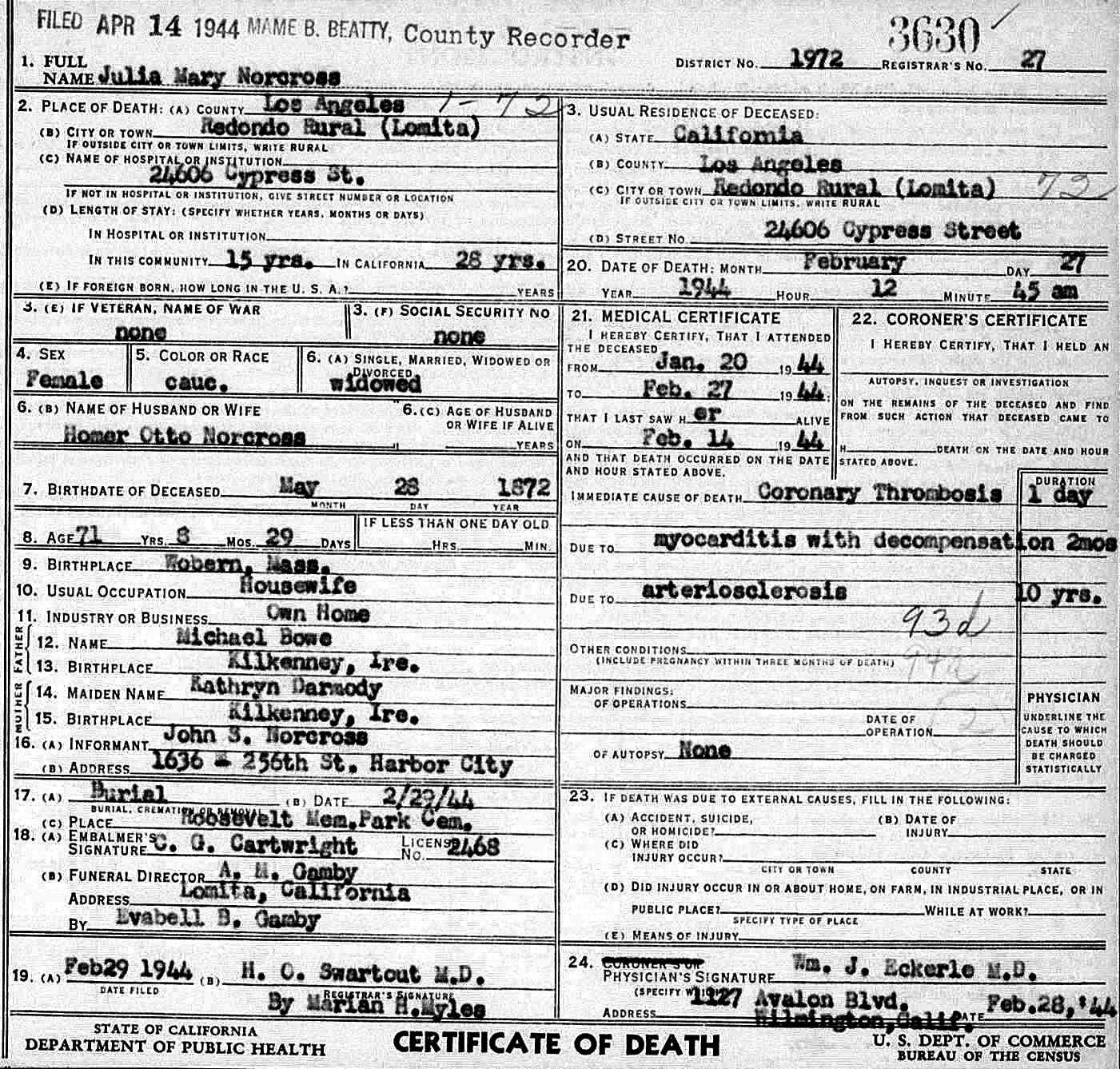 Herbert james norcross 1907 1955 find a grave memorial mothers death certificate aiddatafo Images
