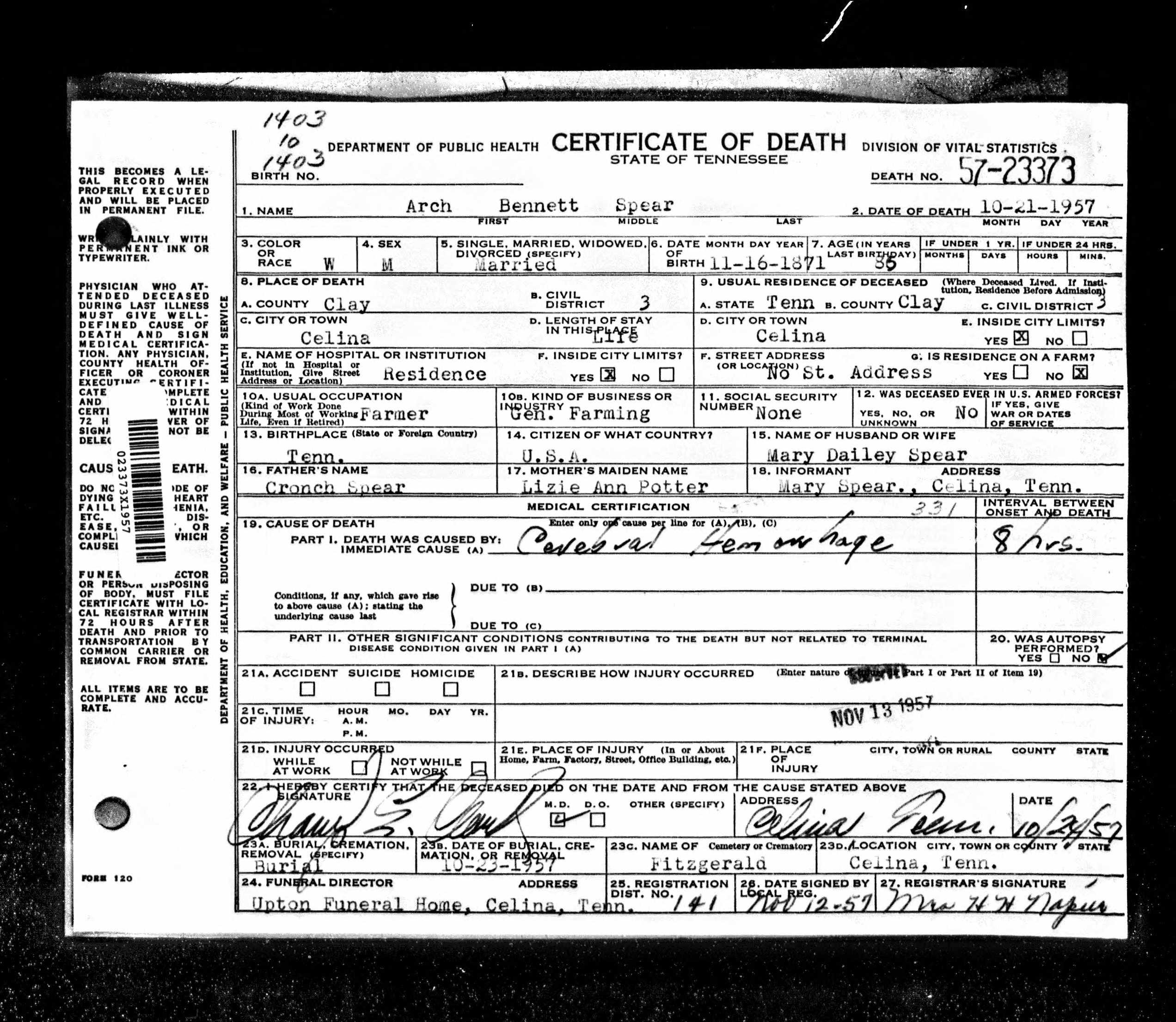 Archibald Bennett Bud Spear 1872 1957 Find A Grave Memorial
