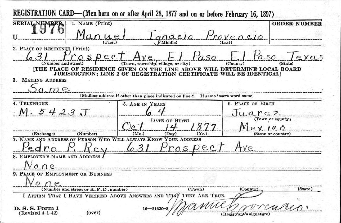 Manuel ignacio provencio 1878 1947 find a grave memorial manuel ignacio provencio birth date 14 oct 1877 birthplace juarez residence el paso texas usa aiddatafo Images