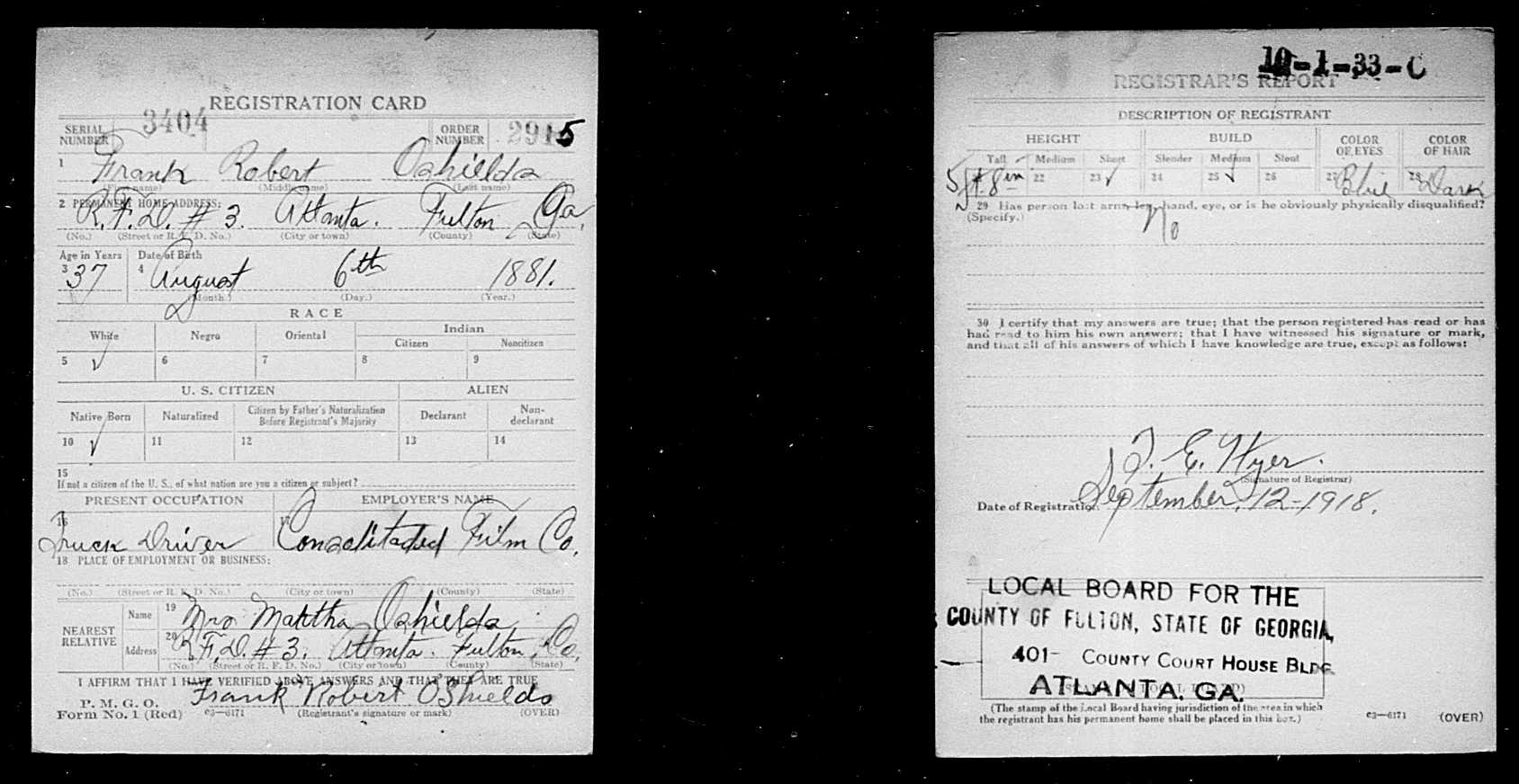Frank robert oshields 1880 1943 find a grave memorial world war i draft registration cards name frank robert oshields event type draft registration event date 1917 1918 event place fulton county georgia aiddatafo Gallery