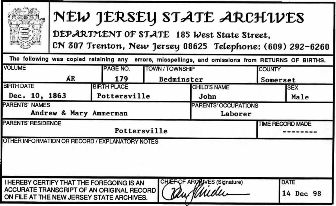 John d ammerman 1863 1934 find a grave memorial john d ammerman birth certificate aiddatafo Images