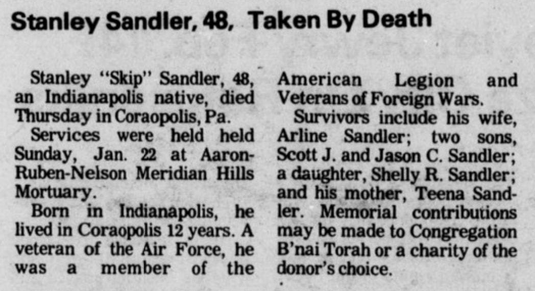 """Stanley Martin """"Skip"""" Sandler (1935-1984) - Find A Grave"""