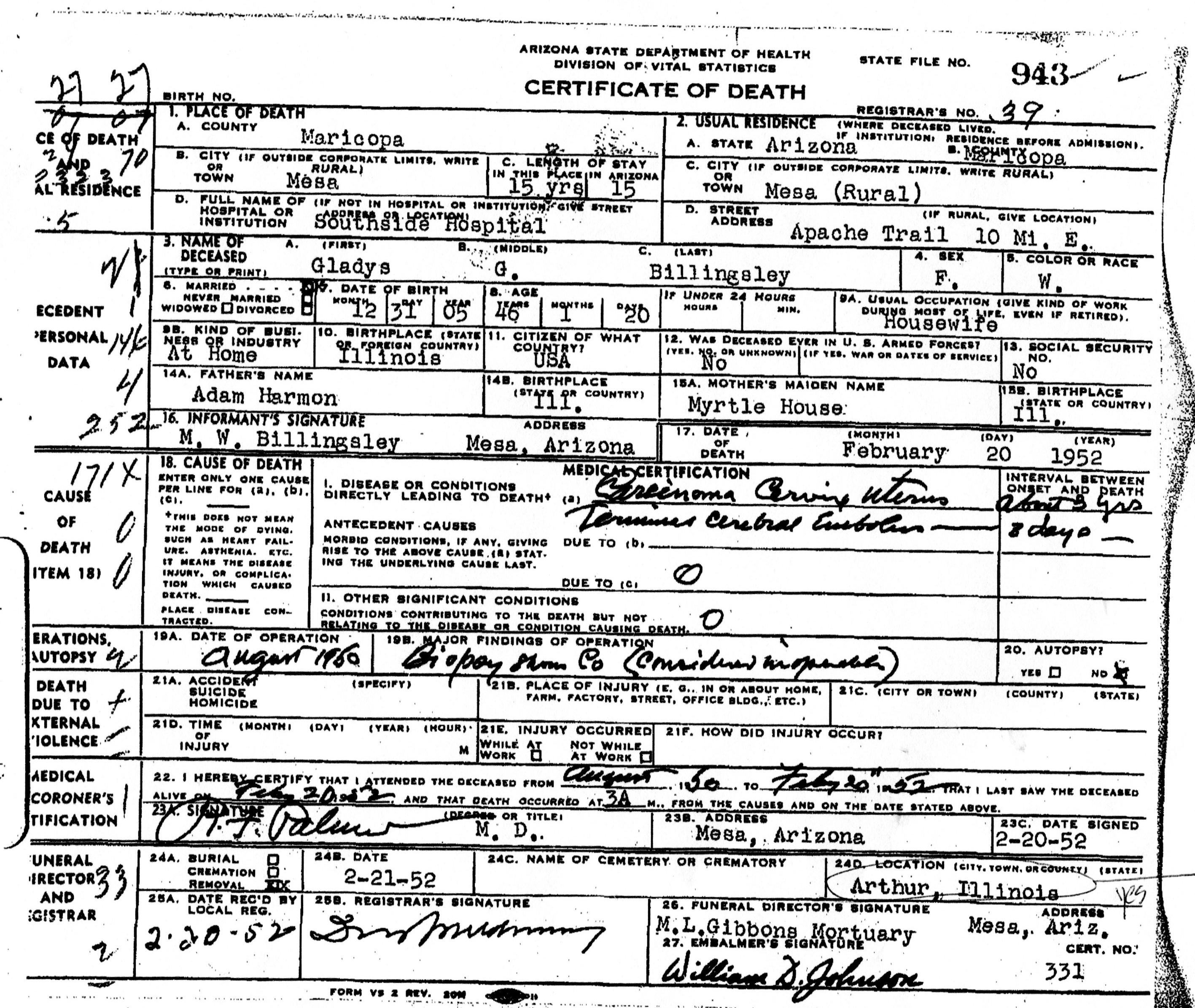 Gladys harmon billingsley 1899 1952 find a grave memorial arizona death certificate for gladys harmon billingsley xflitez Choice Image