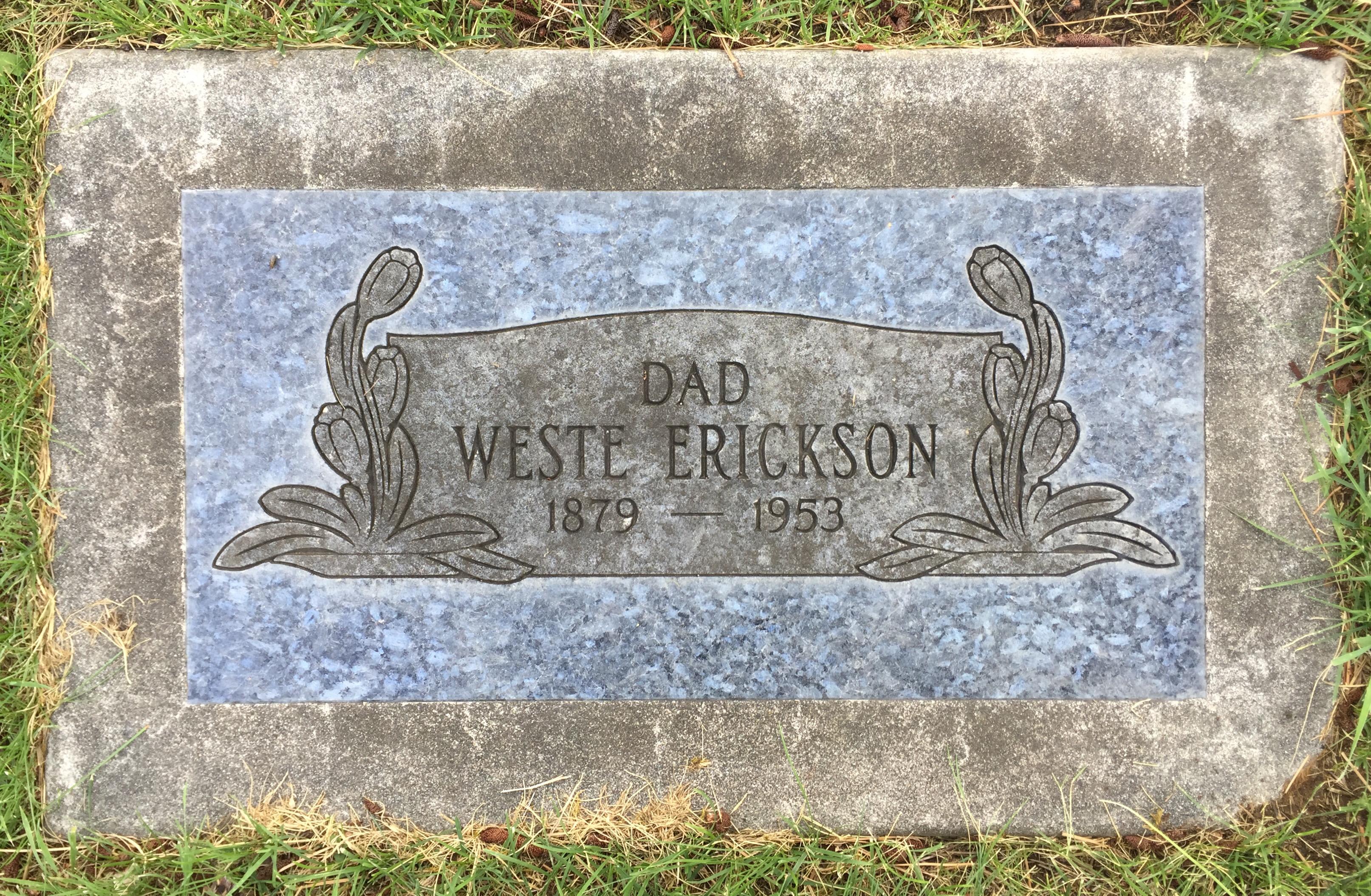 Weste Erickson 1879 1953 Find A Grave Memorial