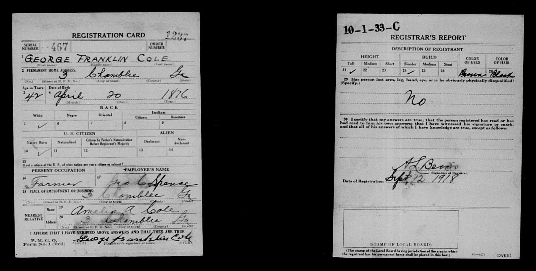 George franklin cole 1876 1960 find a grave memorial world war i draft registration cards name george franklin cole event type draft registration event date 1917 1918 event place fulton county georgia aiddatafo Gallery