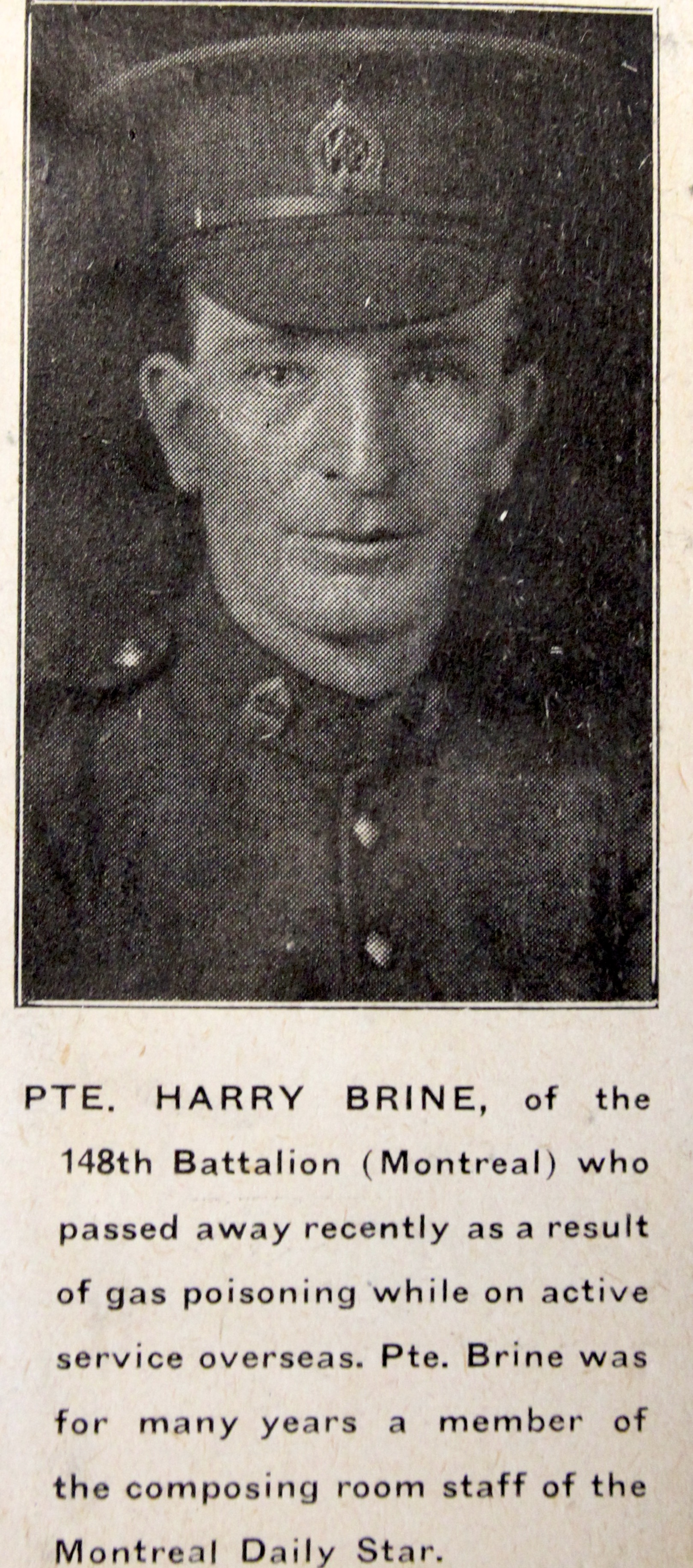 Pvt Harry Thomas Brine
