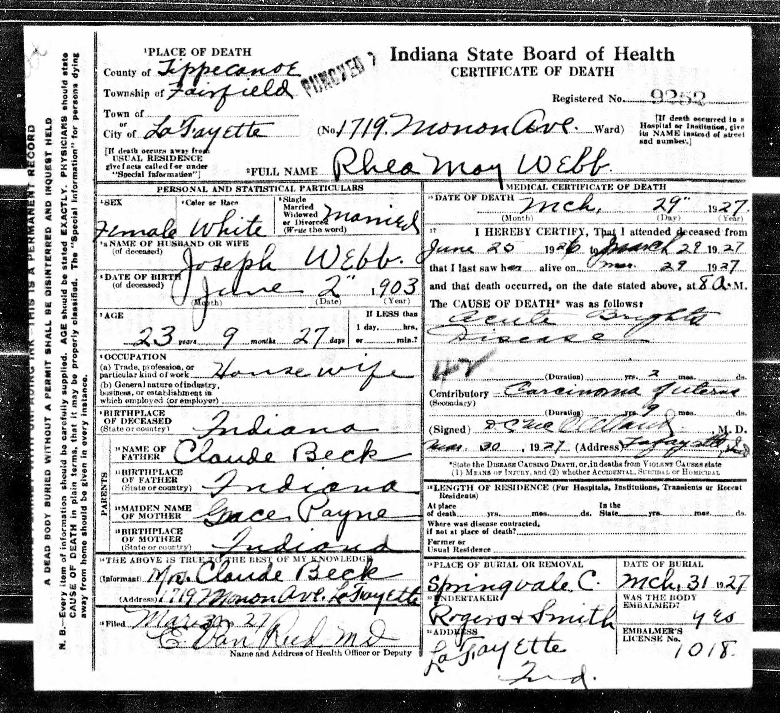Rhea mae beck webb 1903 1927 find a grave memorial indiana state certificate of death re rhea mae beck aiddatafo Choice Image