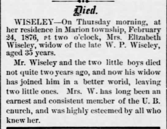 Elizabeth P <i>Bolton</i> Wiseley