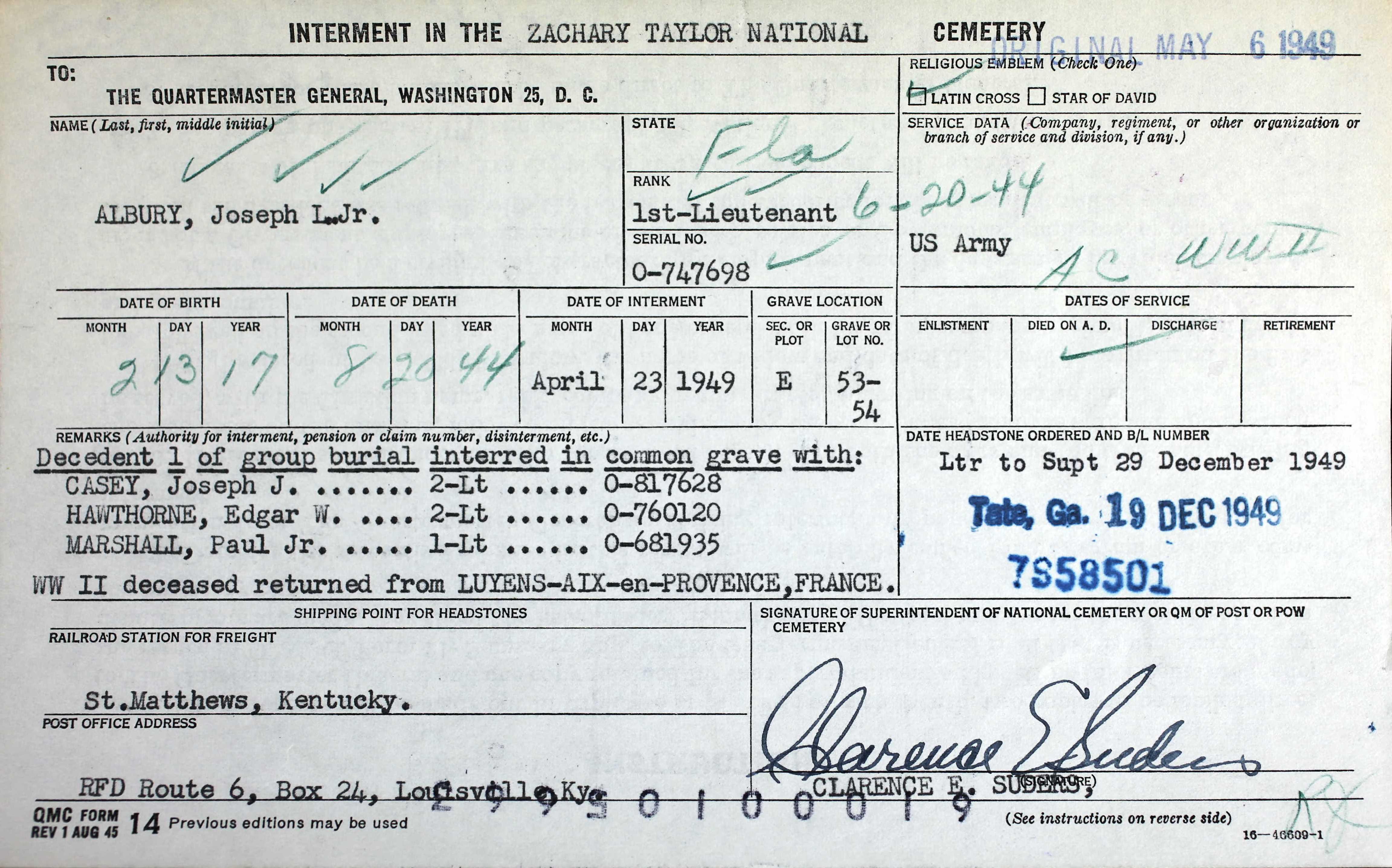 dade county cemetery records circa 1945